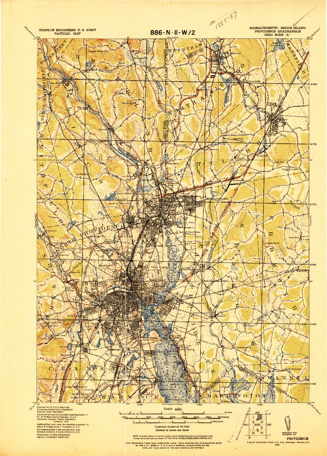 USGS 1:62500-SCALE QUADRANGLE FOR PROVIDENCE, MA 1921