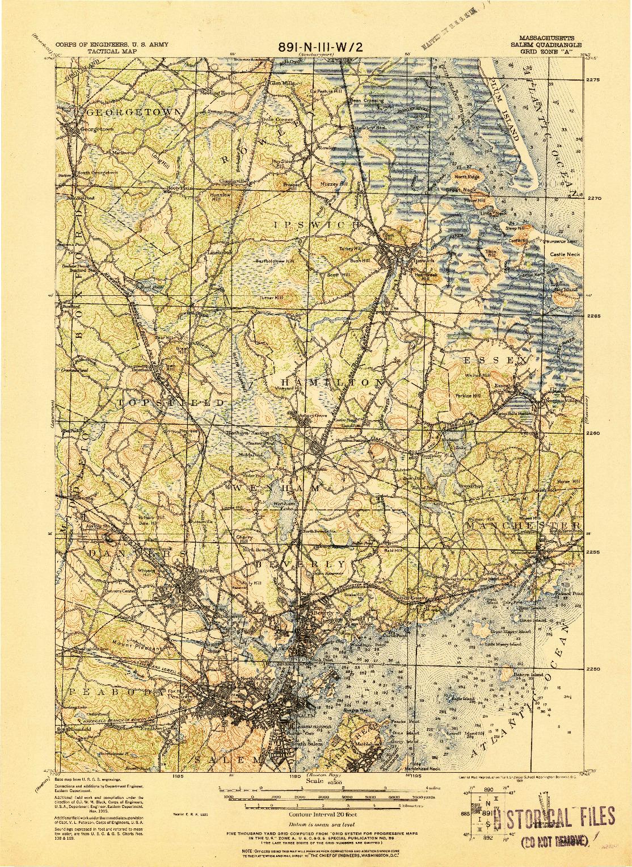 USGS 1:62500-SCALE QUADRANGLE FOR SALEM, MA 1919