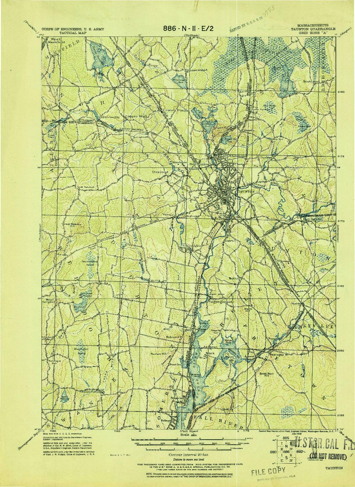 USGS 1:62500-SCALE QUADRANGLE FOR TAUNTON, MA 1918
