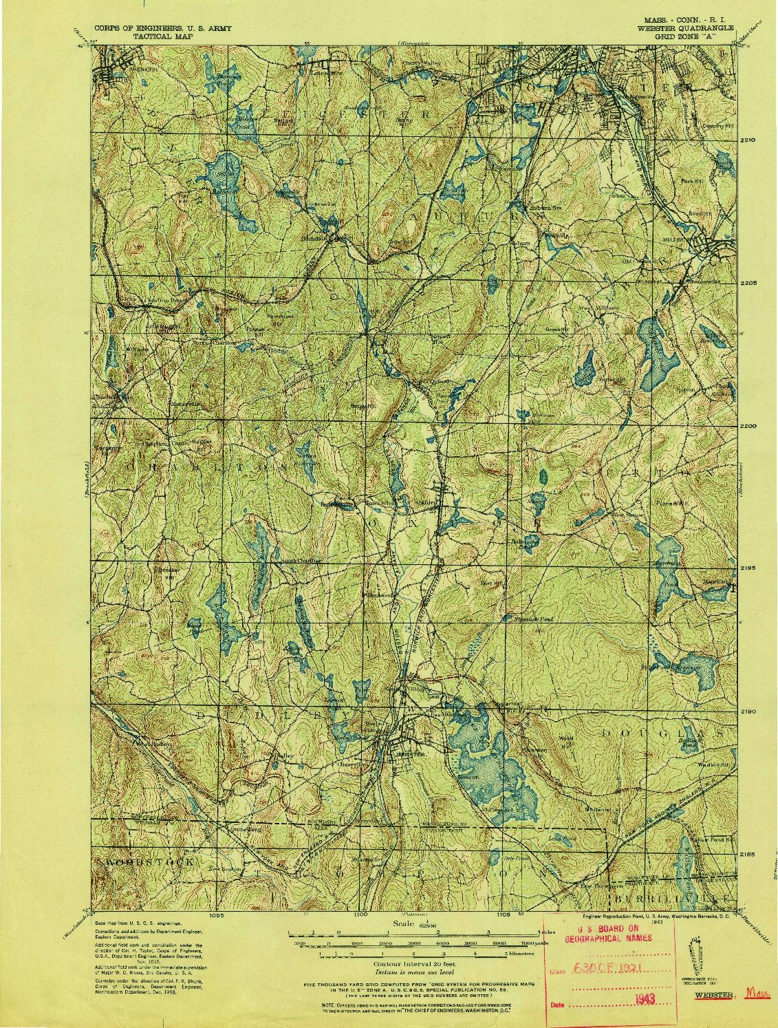 USGS 1:62500-SCALE QUADRANGLE FOR WEBSTER, MA 1921