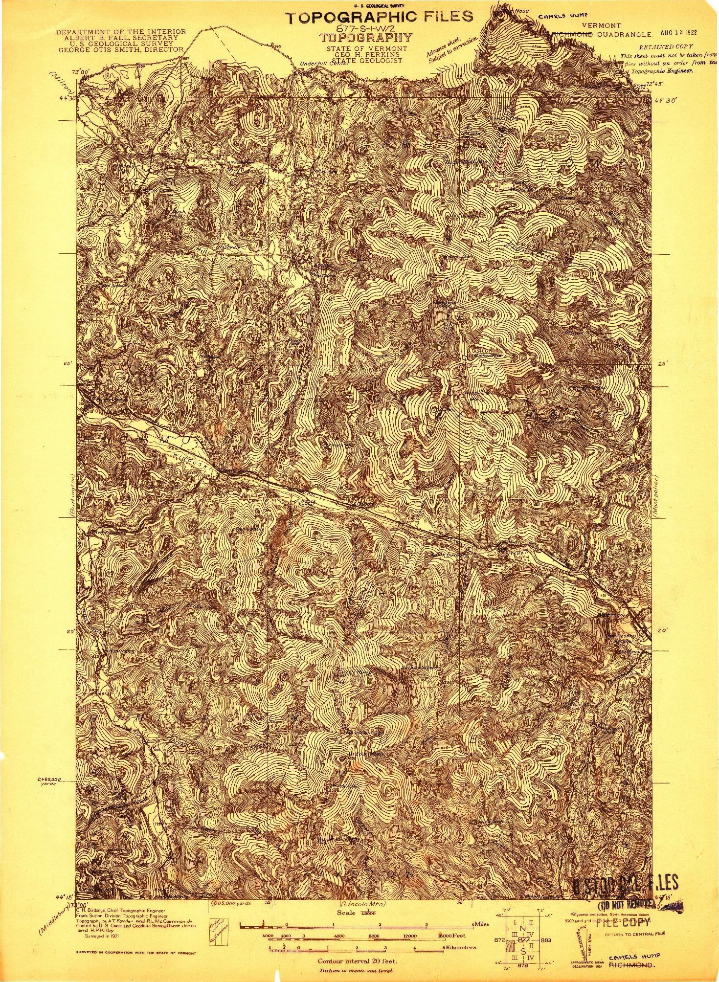 USGS 1:48000-SCALE QUADRANGLE FOR RICHMOND, VT 1921