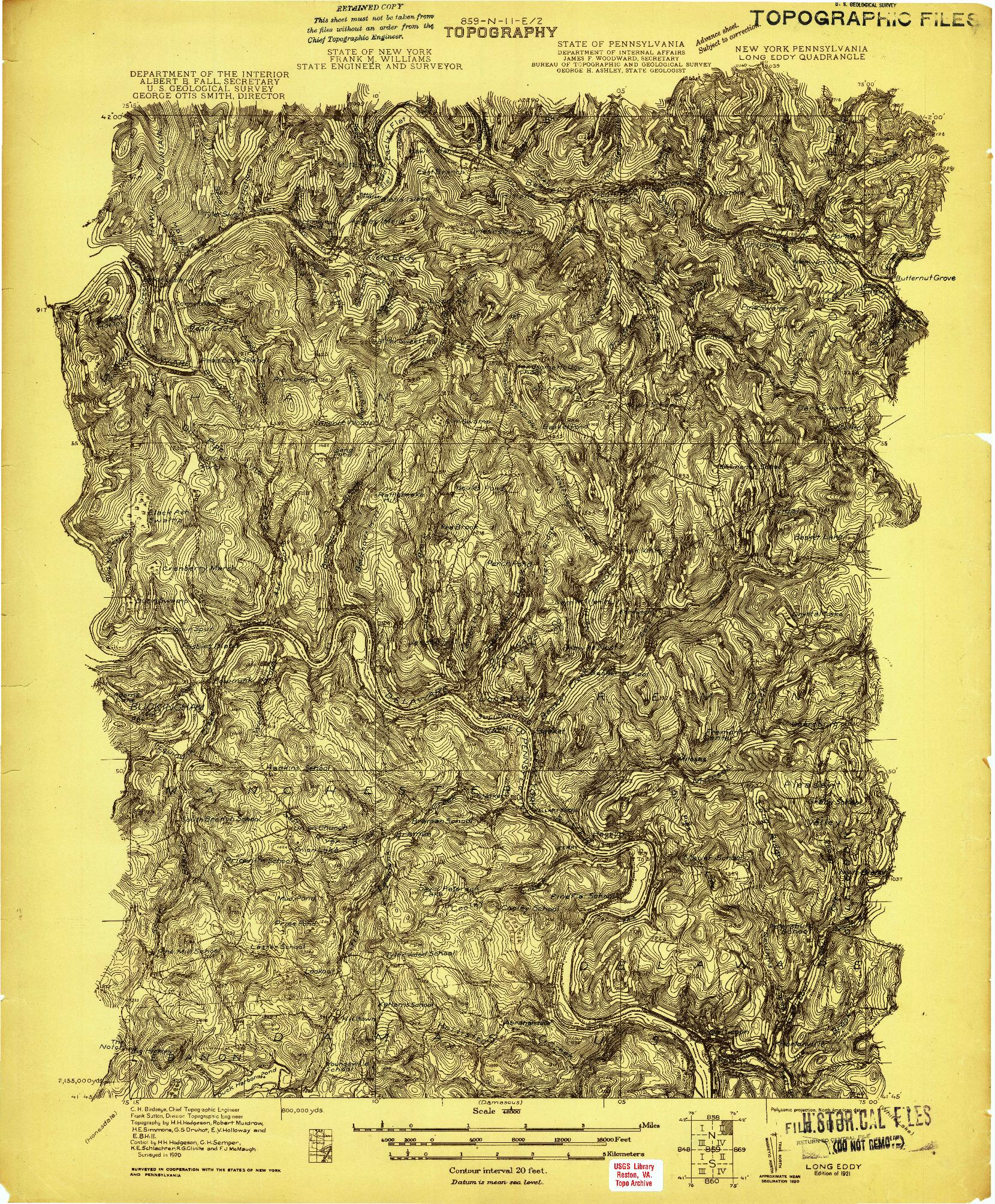 USGS 1:48000-SCALE QUADRANGLE FOR LONG EDDY, NY 1921
