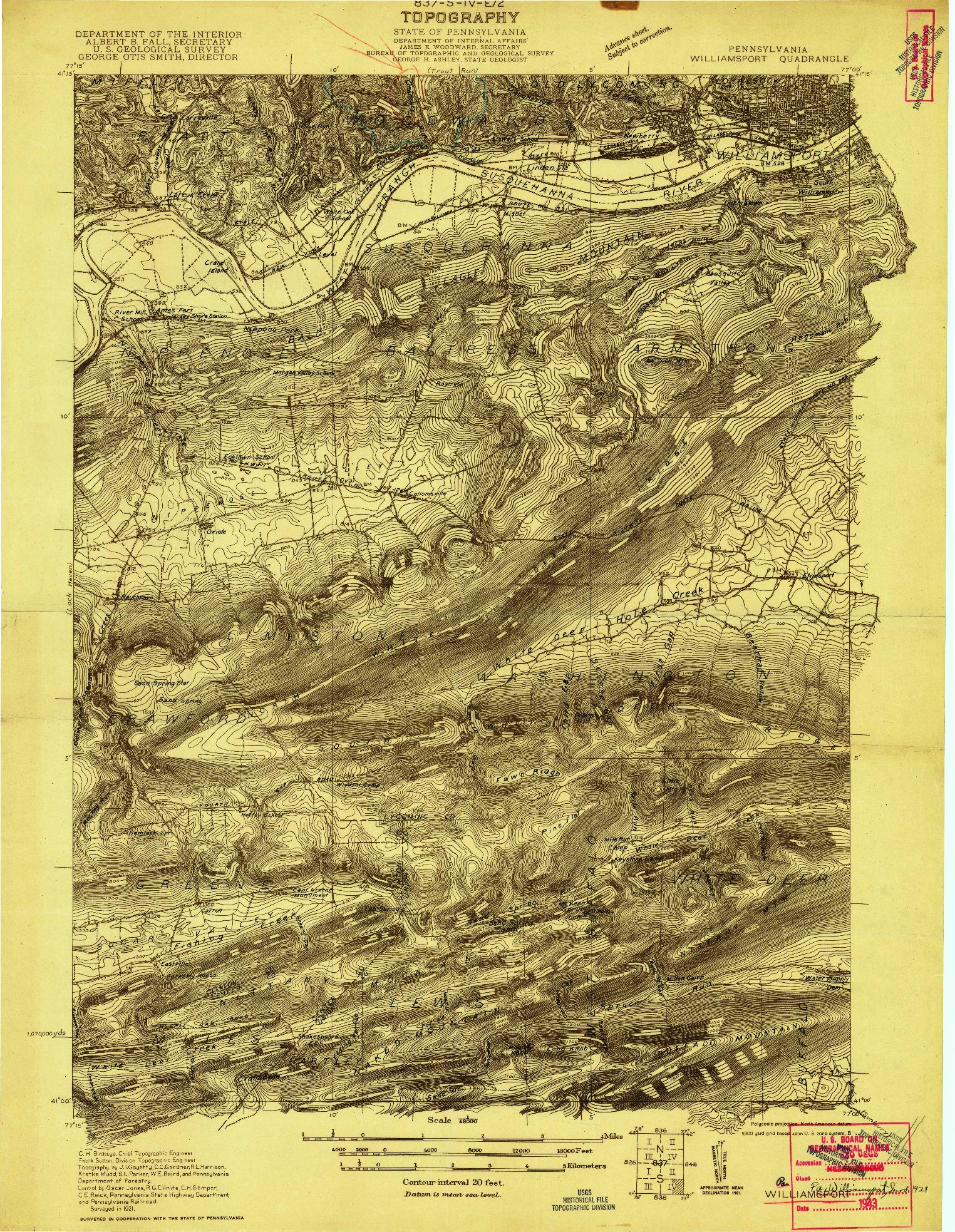 USGS 1:48000-SCALE QUADRANGLE FOR WILLIAMSPORT, PA 1921