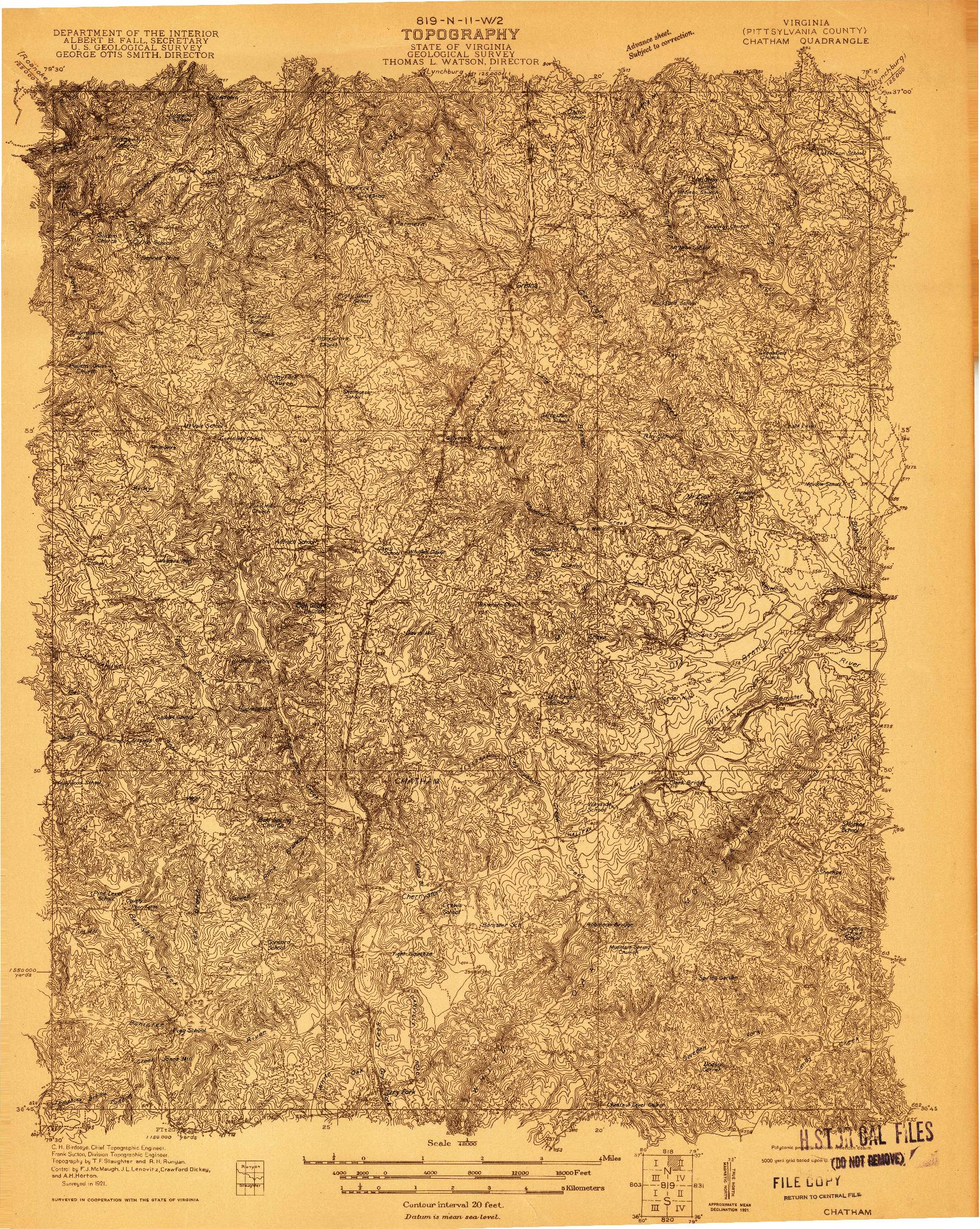 USGS 1:48000-SCALE QUADRANGLE FOR CHATHAM, VA 1921
