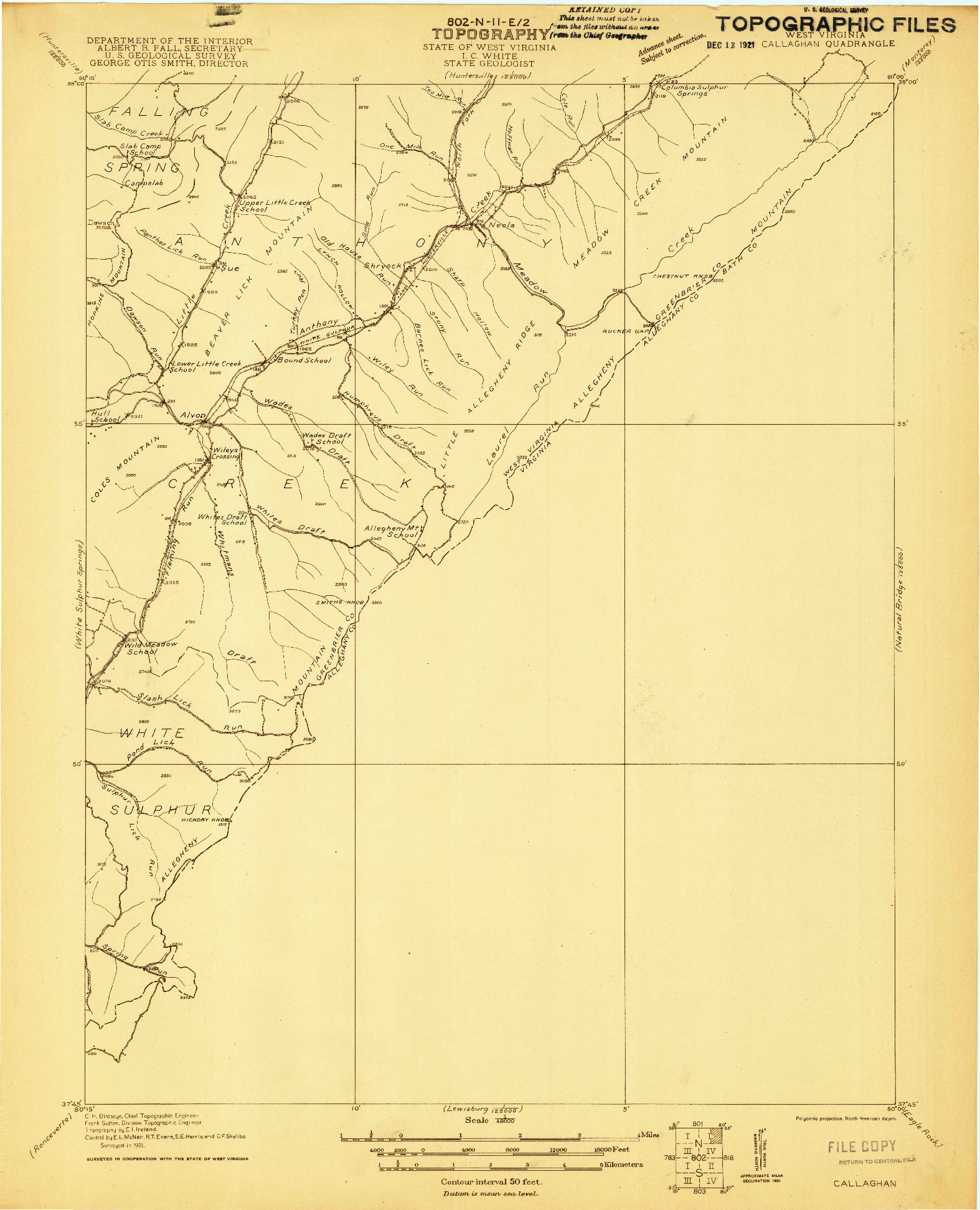 USGS 1:48000-SCALE QUADRANGLE FOR CALLAGHAN, WV 1921