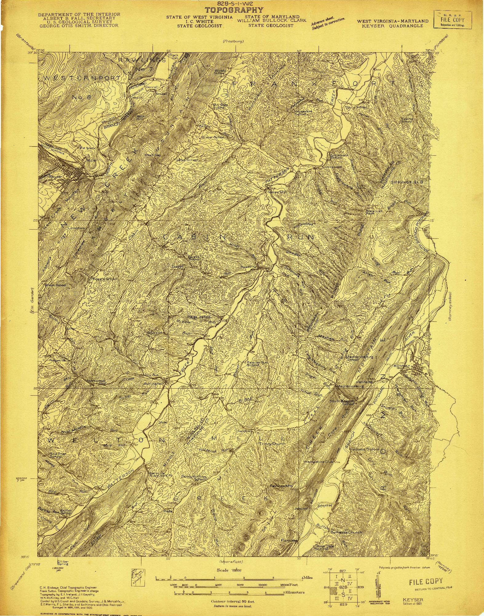 USGS 1:48000-SCALE QUADRANGLE FOR KEYSER, WV 1921