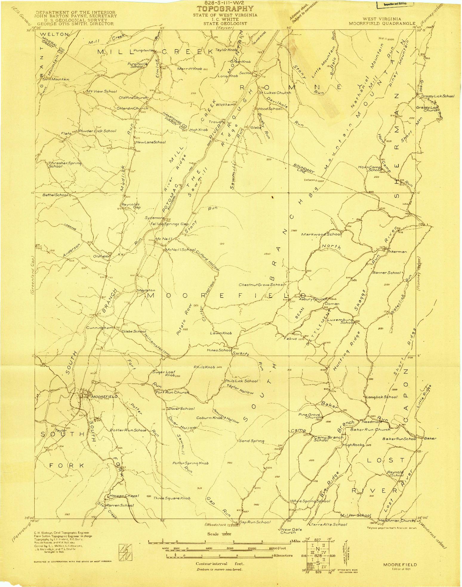 USGS 1:48000-SCALE QUADRANGLE FOR MOOREFIELD, WV 1921