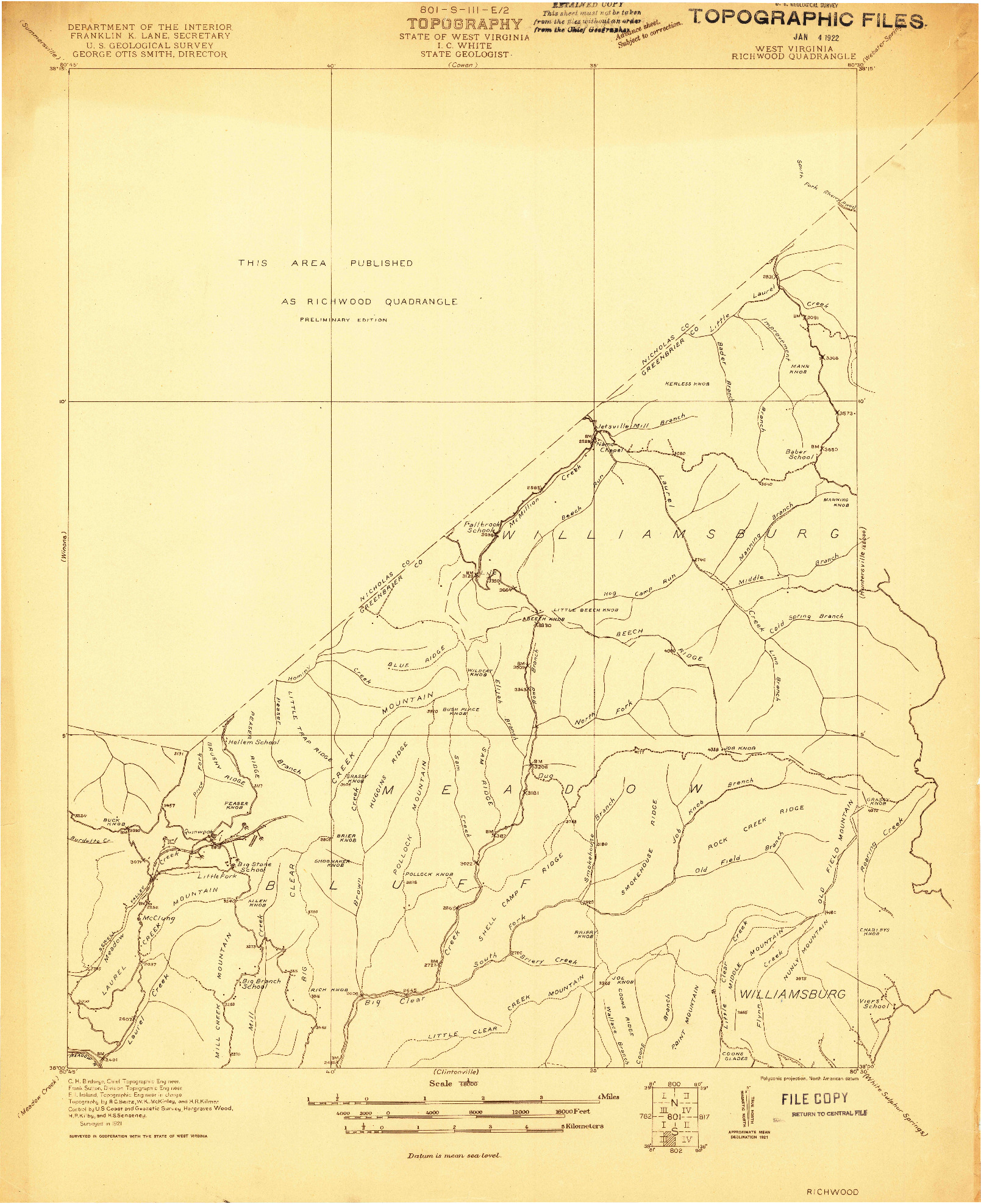 USGS 1:48000-SCALE QUADRANGLE FOR RICHWOOD, WV 1921