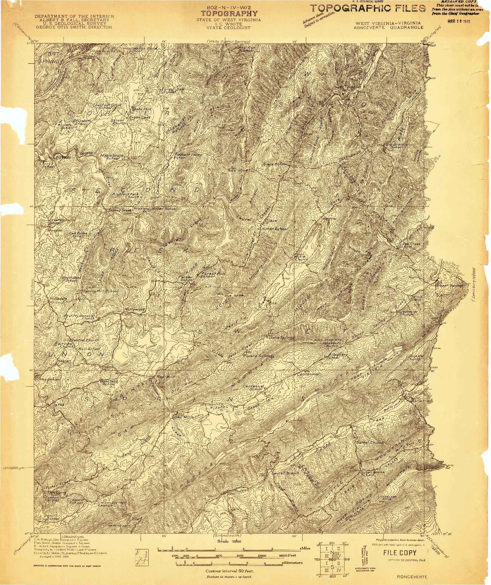 USGS 1:48000-SCALE QUADRANGLE FOR RONCEVERTE, WV 1921