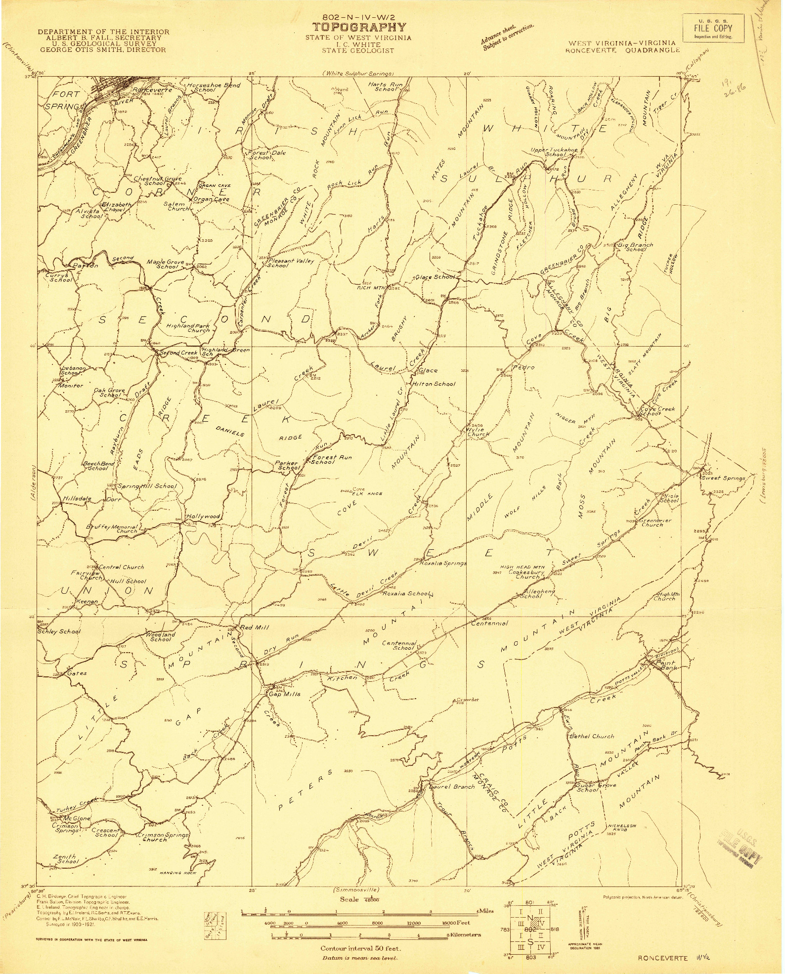USGS 1:48000-SCALE QUADRANGLE FOR RONCEVERTE, WV 1921