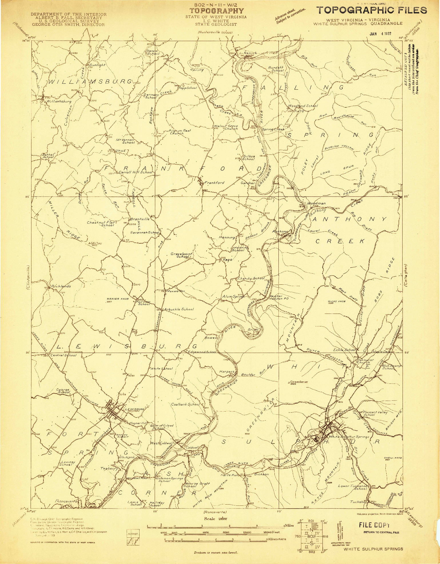 USGS 1:48000-SCALE QUADRANGLE FOR WHITE SULPHUR SPRINGS, WV 1921