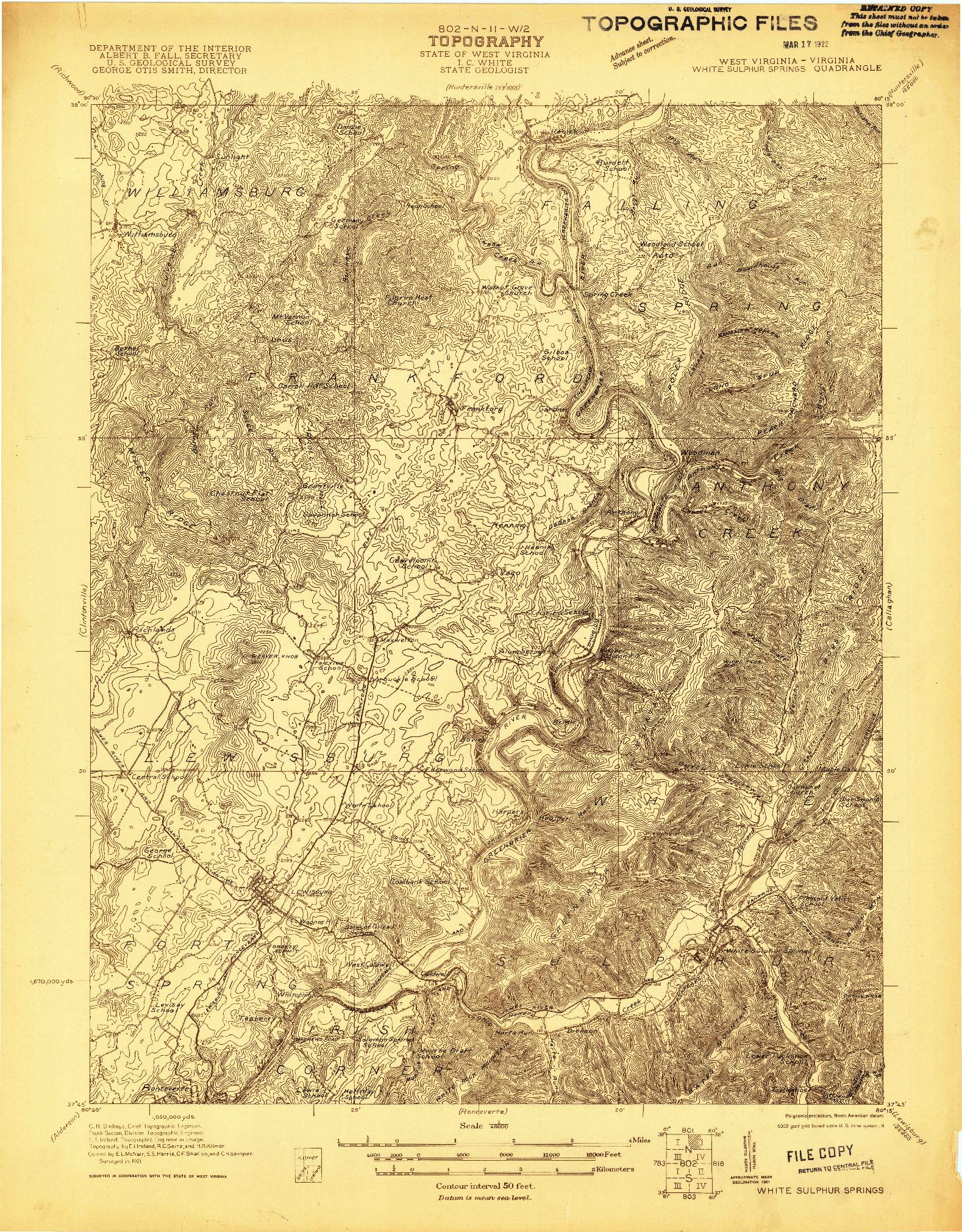 USGS 1:48000-SCALE QUADRANGLE FOR WHITE SULPHUR SPRINGS, WV 1921