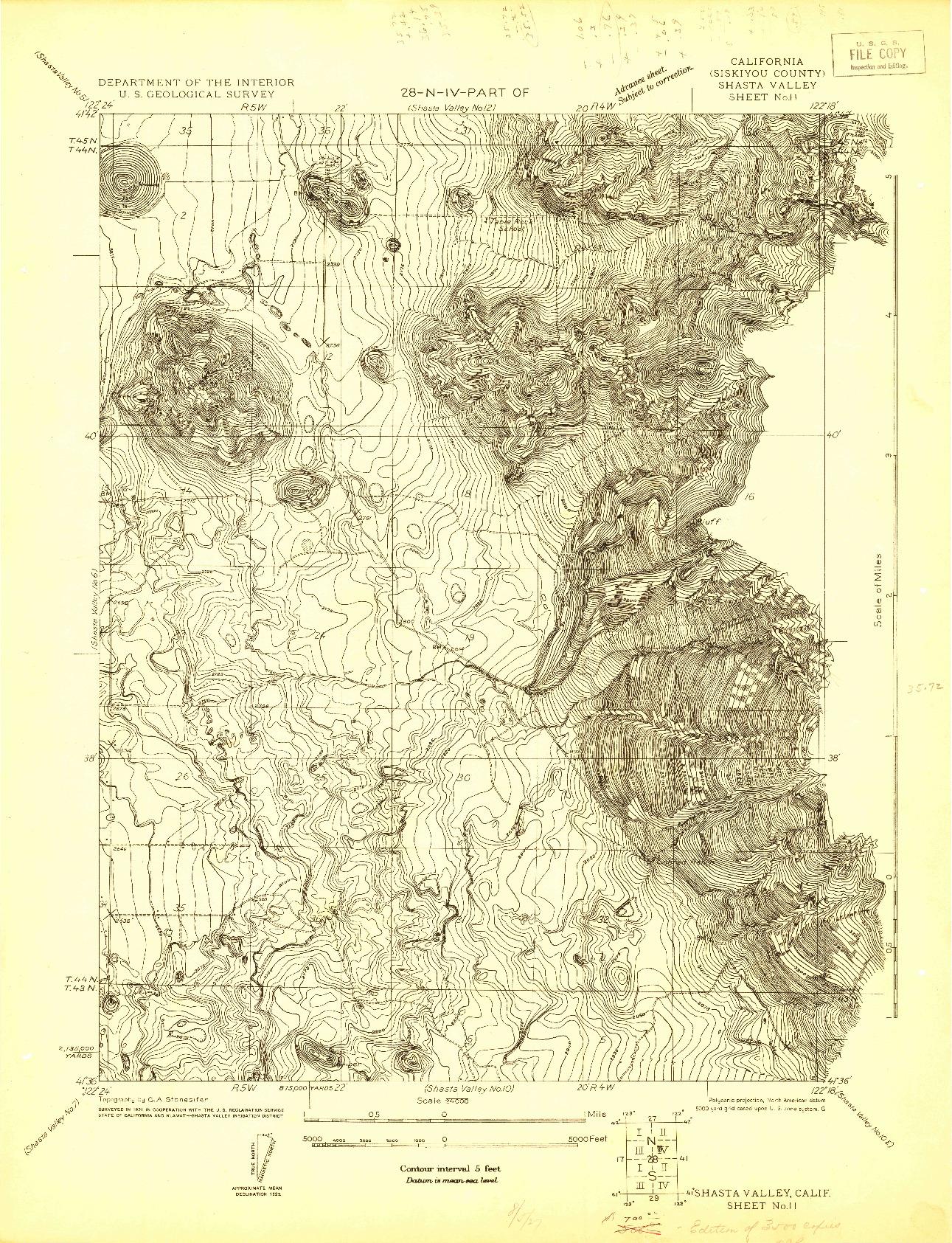 USGS 1:24000-SCALE QUADRANGLE FOR SHASTA VALLEY SHEET NO 11, CA 1921