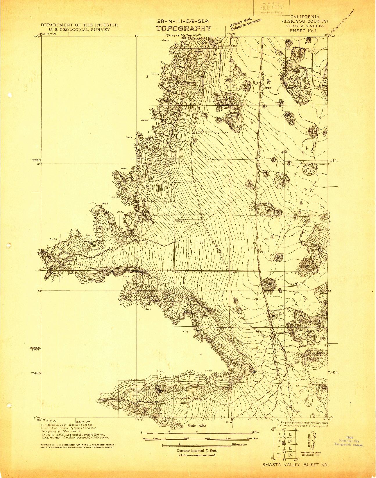 USGS 1:24000-SCALE QUADRANGLE FOR SHASTA VALLEY SHEET NO 1, CA 1921