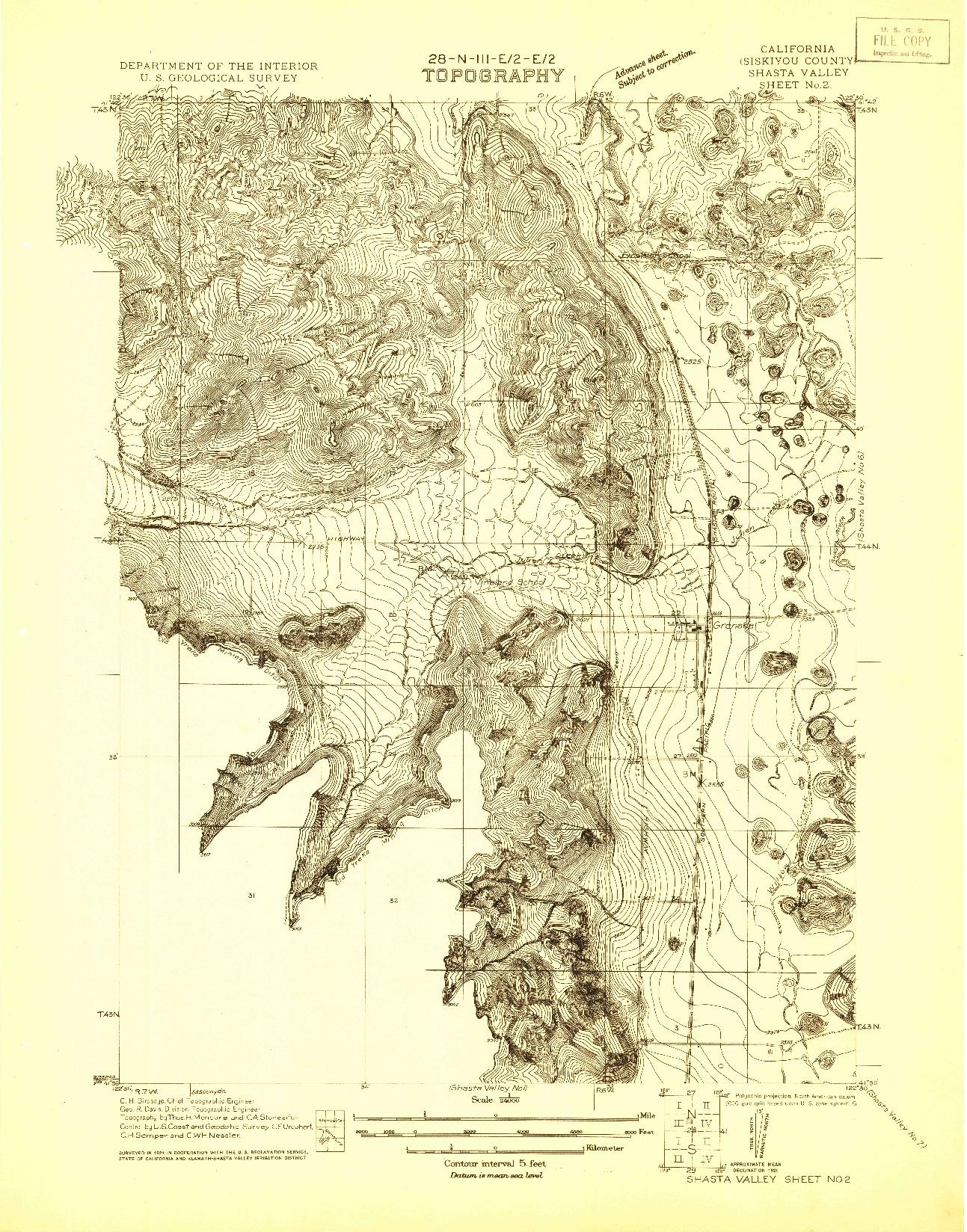 USGS 1:24000-SCALE QUADRANGLE FOR SHASTA VALLEY SHEET NO 2, CA 1921