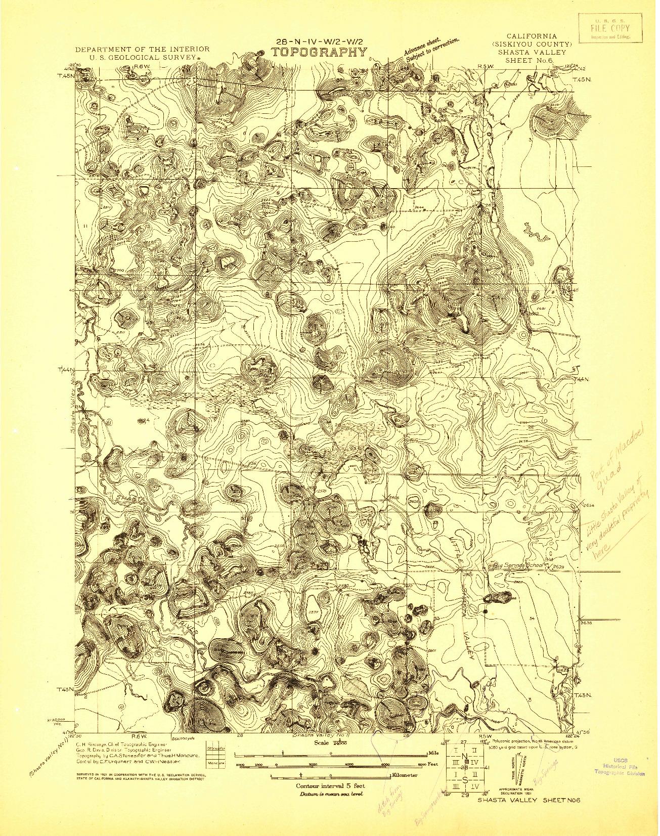 USGS 1:24000-SCALE QUADRANGLE FOR SHASTA VALLEY SHEET NO 6, CA 1921