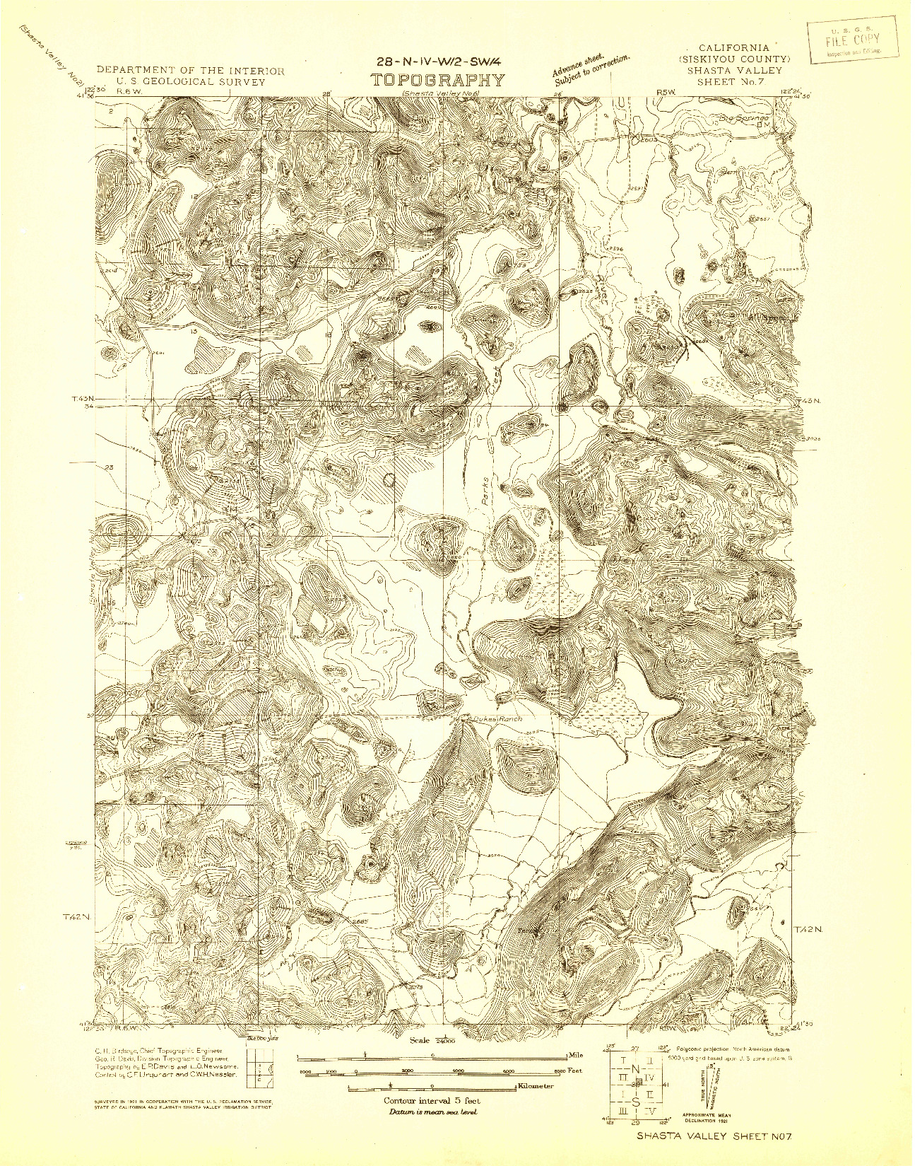 USGS 1:24000-SCALE QUADRANGLE FOR SHASTA VALLEY SHEET NO 7, CA 1921