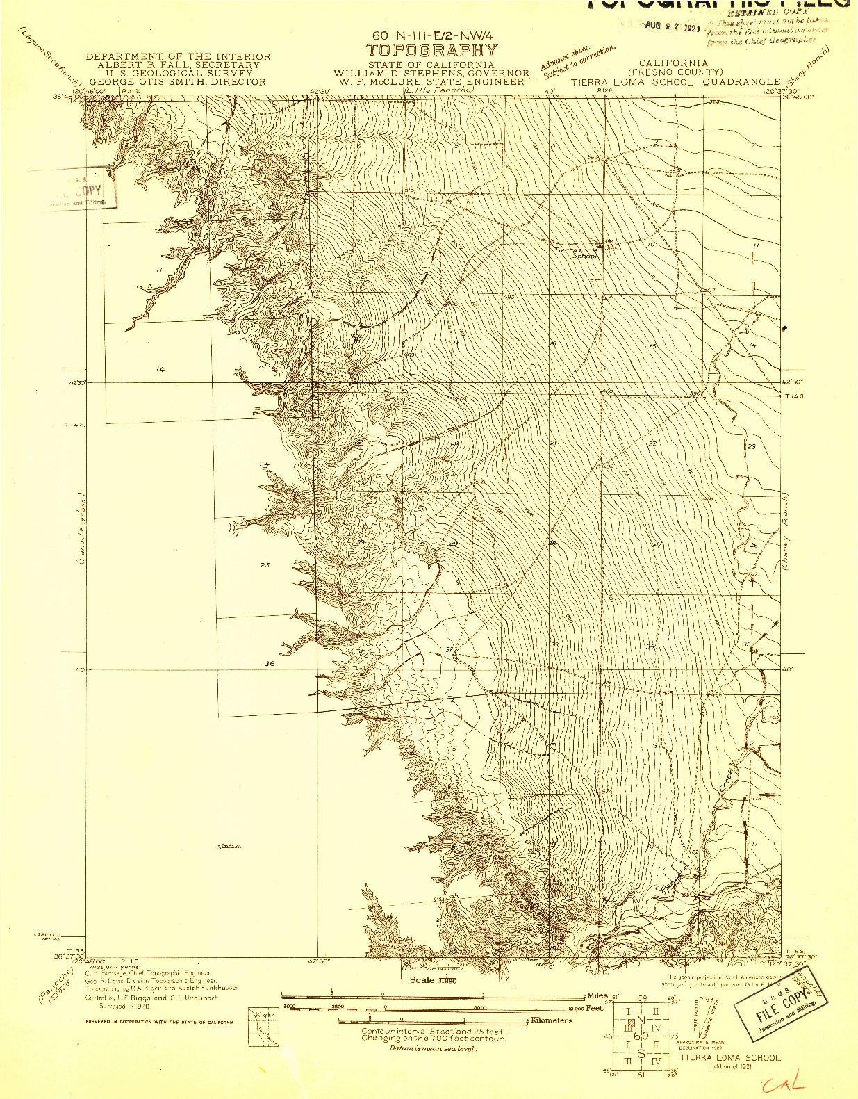 USGS 1:31680-SCALE QUADRANGLE FOR TIERRA LOMA SCHOOL, CA 1921