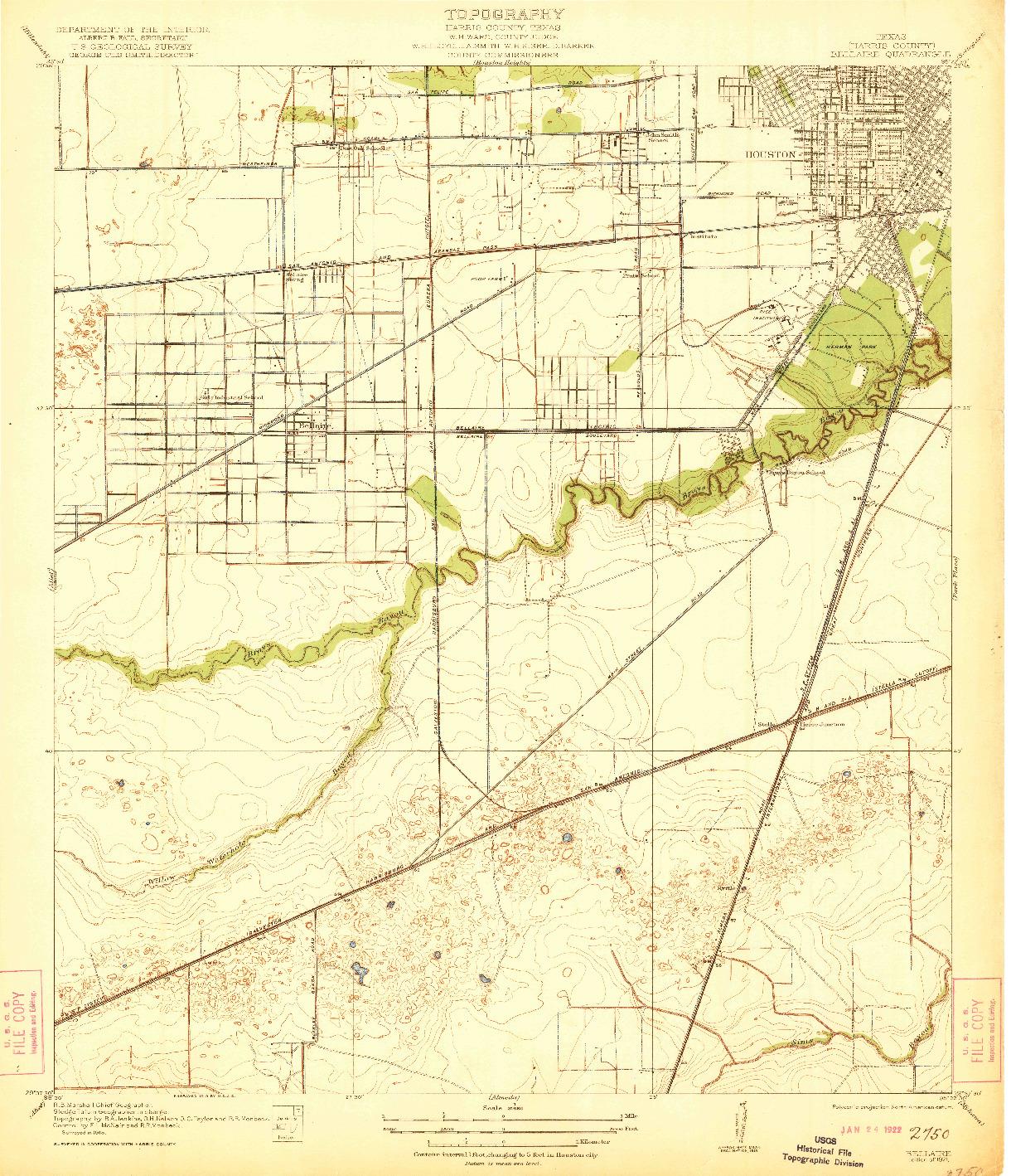 USGS 1:31680-SCALE QUADRANGLE FOR BELLAIRE, TX 1921