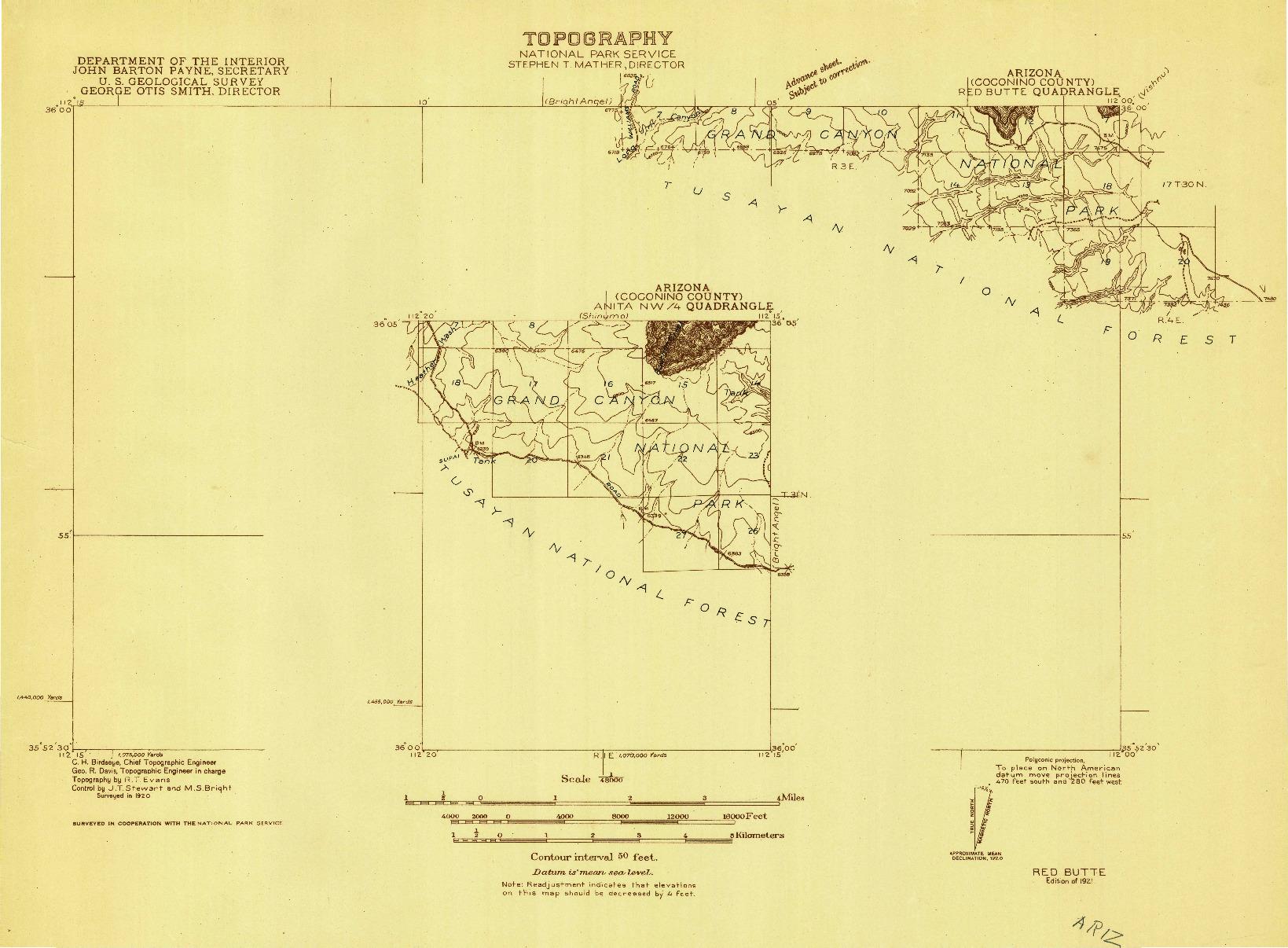 USGS 1:48000-SCALE QUADRANGLE FOR RED BUTTE, AZ 1921