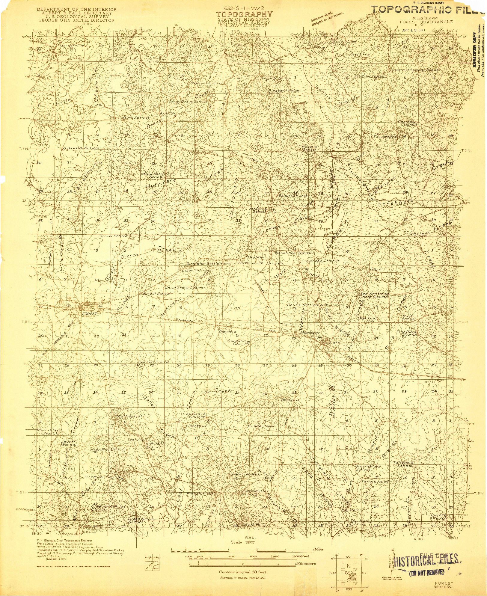 USGS 1:48000-SCALE QUADRANGLE FOR FOREST, MS 1921