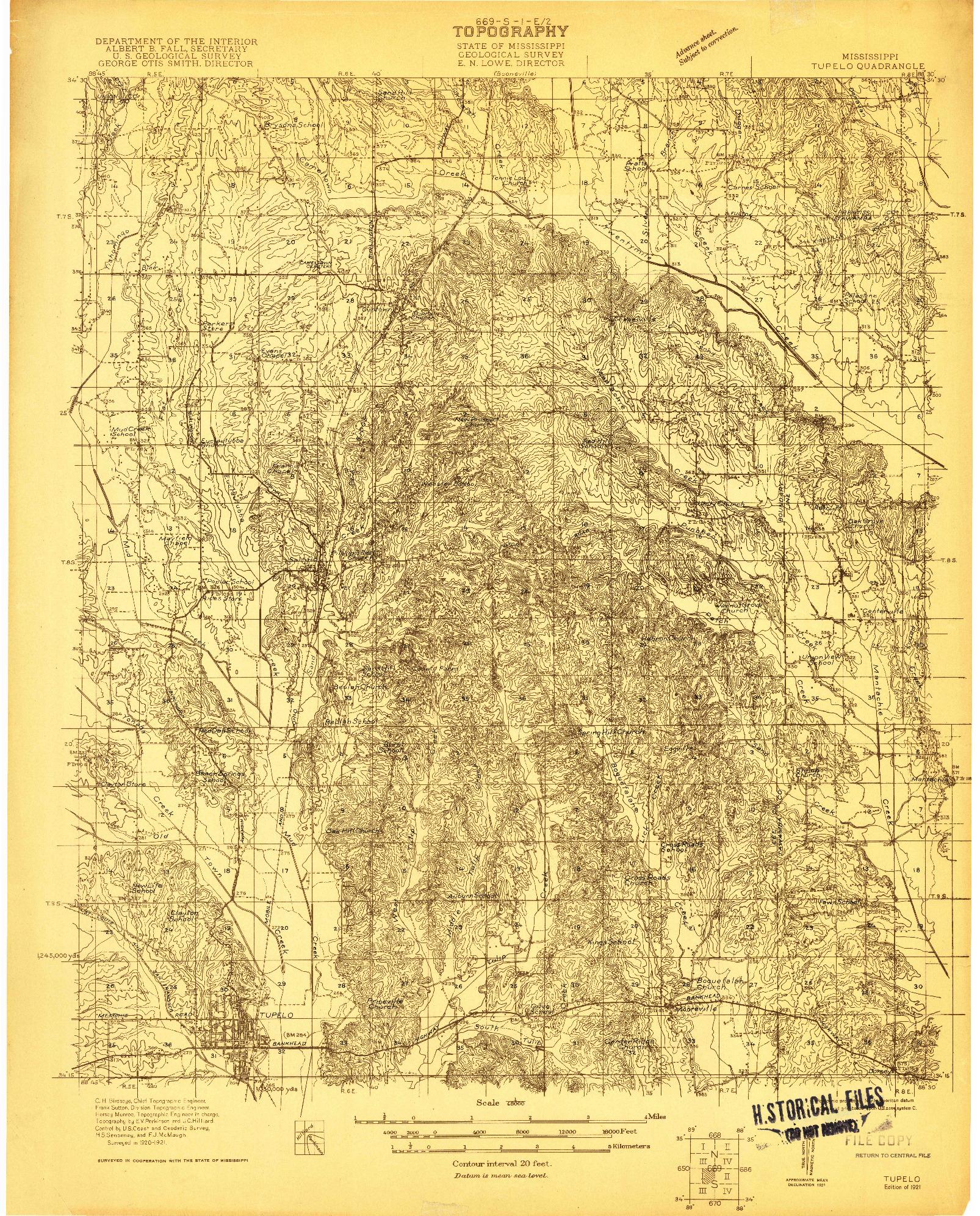 USGS 1:48000-SCALE QUADRANGLE FOR TUPELO, MS 1921