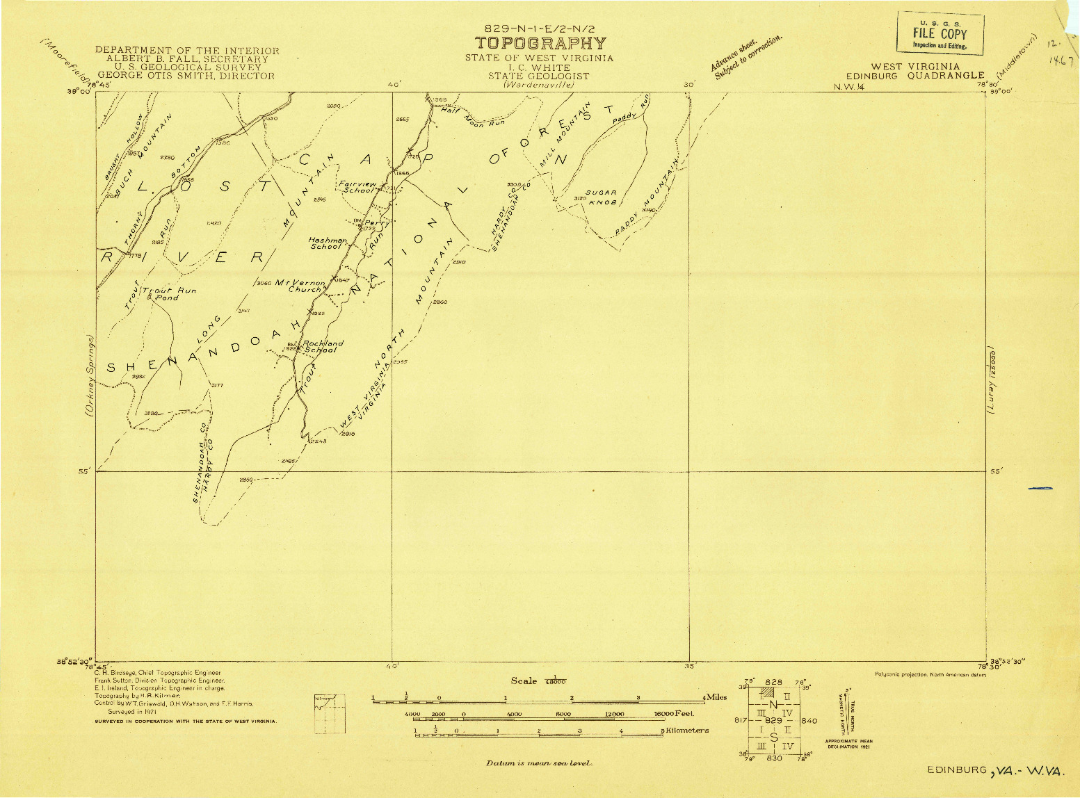 USGS 1:48000-SCALE QUADRANGLE FOR EDINBURG, WV 1921