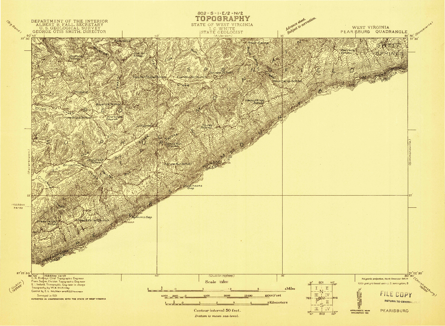 USGS 1:48000-SCALE QUADRANGLE FOR PEARISBURG, WV 1921