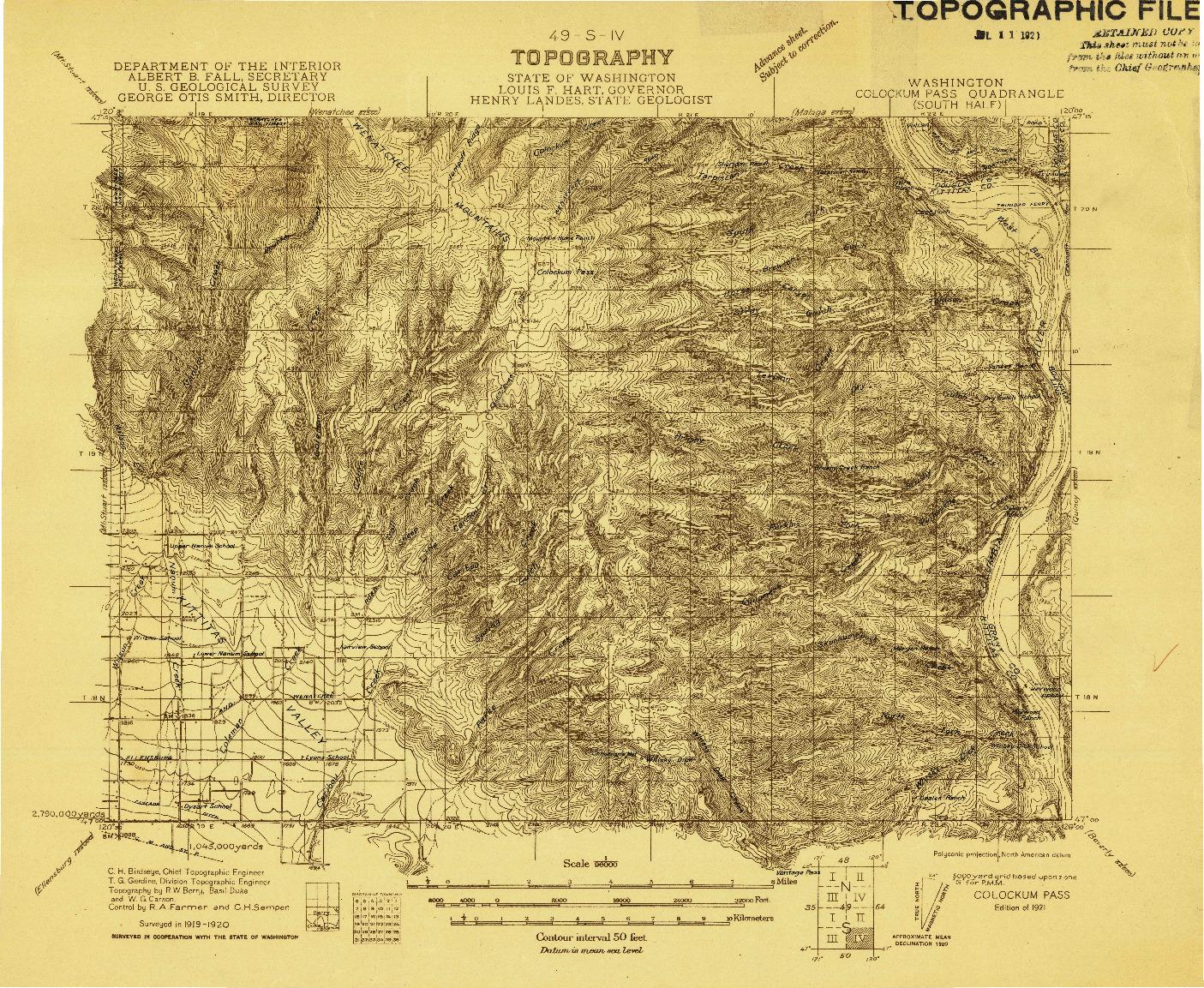 USGS 1:96000-SCALE QUADRANGLE FOR COLOCKUM PASS, WA 1921