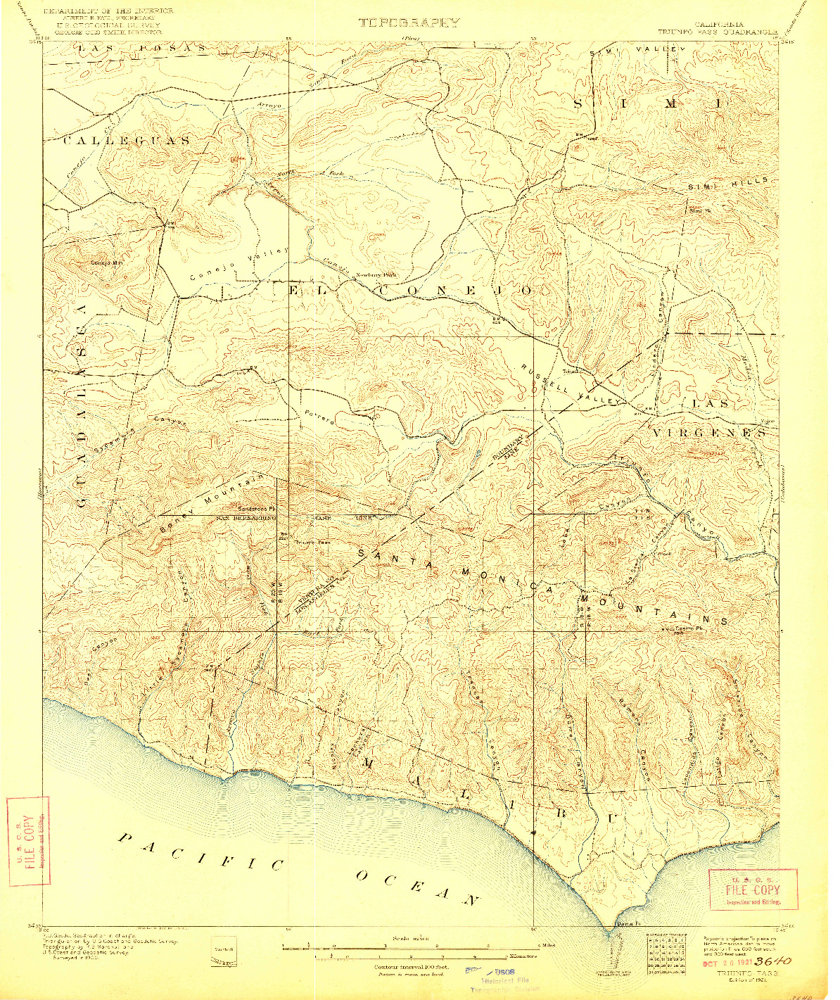 USGS 1:62500-SCALE QUADRANGLE FOR TRIUNFO PASS, CA 1921
