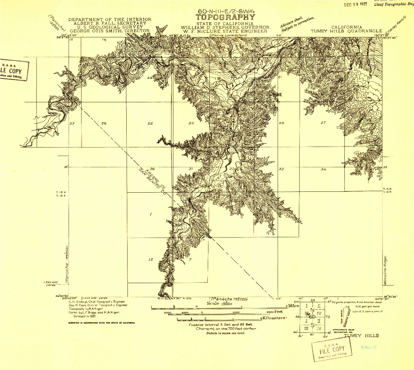 USGS 1:31680-SCALE QUADRANGLE FOR TUMEY HILLS, CA 1921
