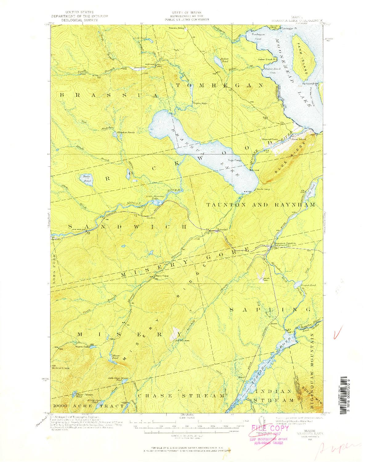 USGS 1:62500-SCALE QUADRANGLE FOR BRASSUA LAKE, ME 1921