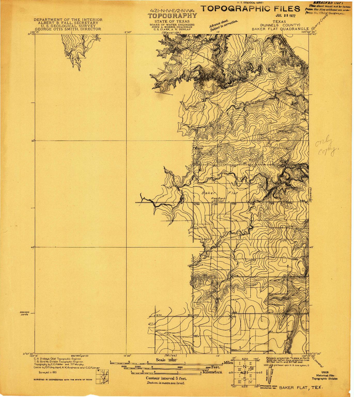 USGS 1:31680-SCALE QUADRANGLE FOR BAKER FLAT, TX 1921