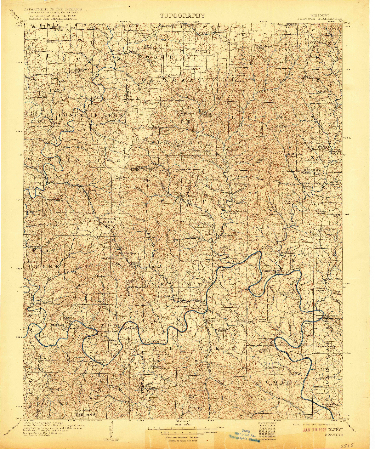 USGS 1:125000-SCALE QUADRANGLE FOR FORSYTH, MO 1907