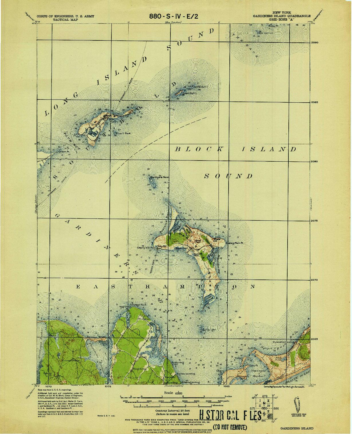 USGS 1:62500-SCALE QUADRANGLE FOR GARDINERS ISLAND, NY 1921