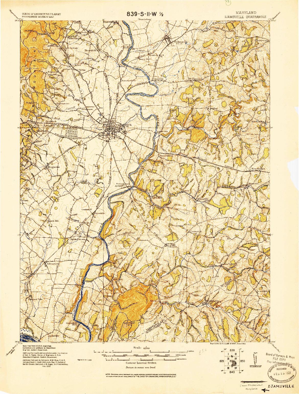 USGS 1:62500-SCALE QUADRANGLE FOR IJAMSVILLE, MD 1908