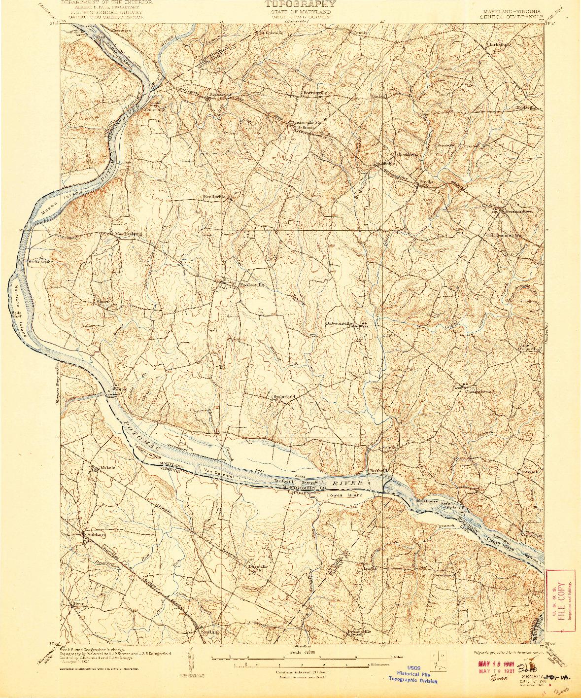 USGS 1:62500-SCALE QUADRANGLE FOR SENECA, MD 1908