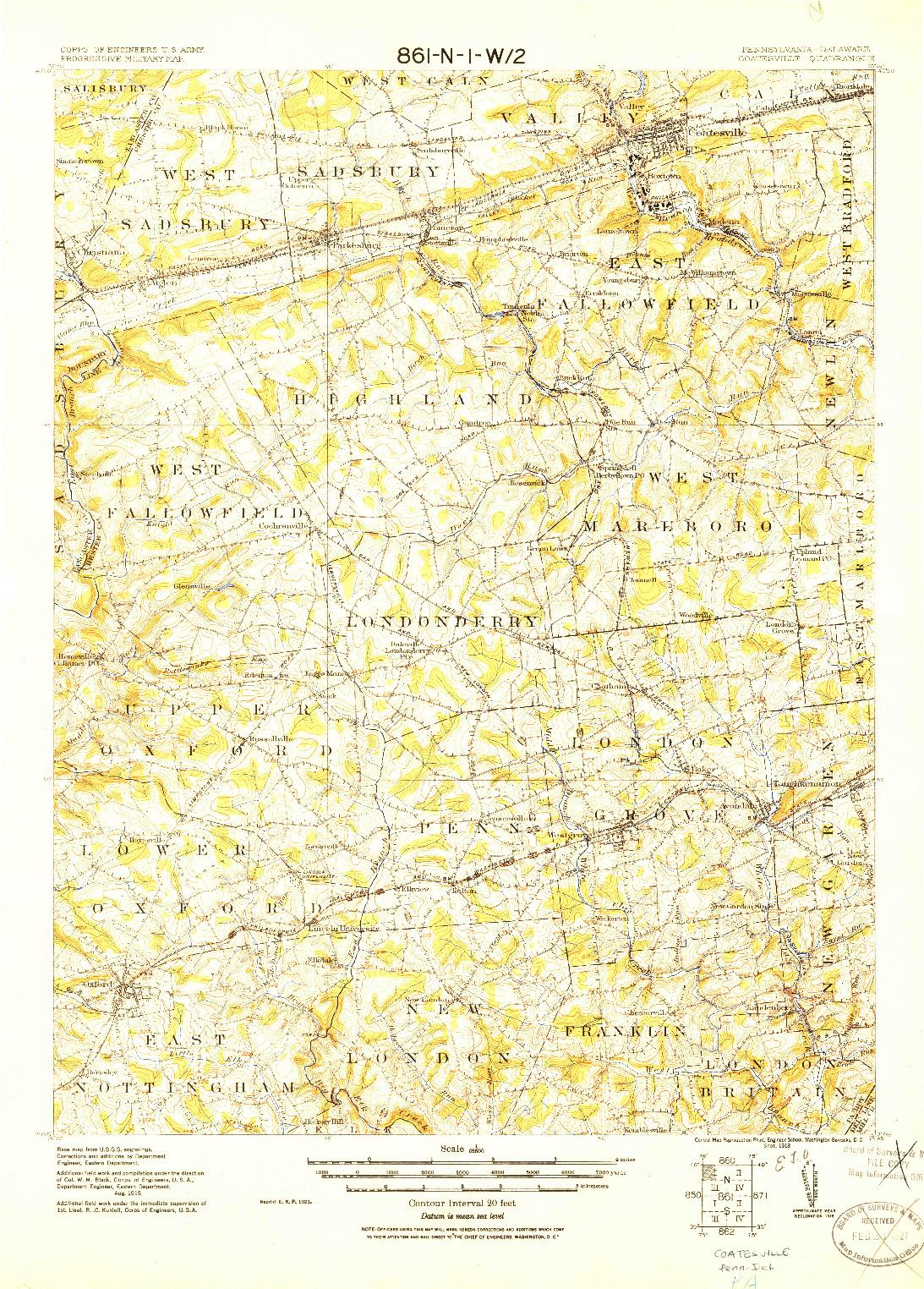 USGS 1:62500-SCALE QUADRANGLE FOR COATESVILLE, PA 1918