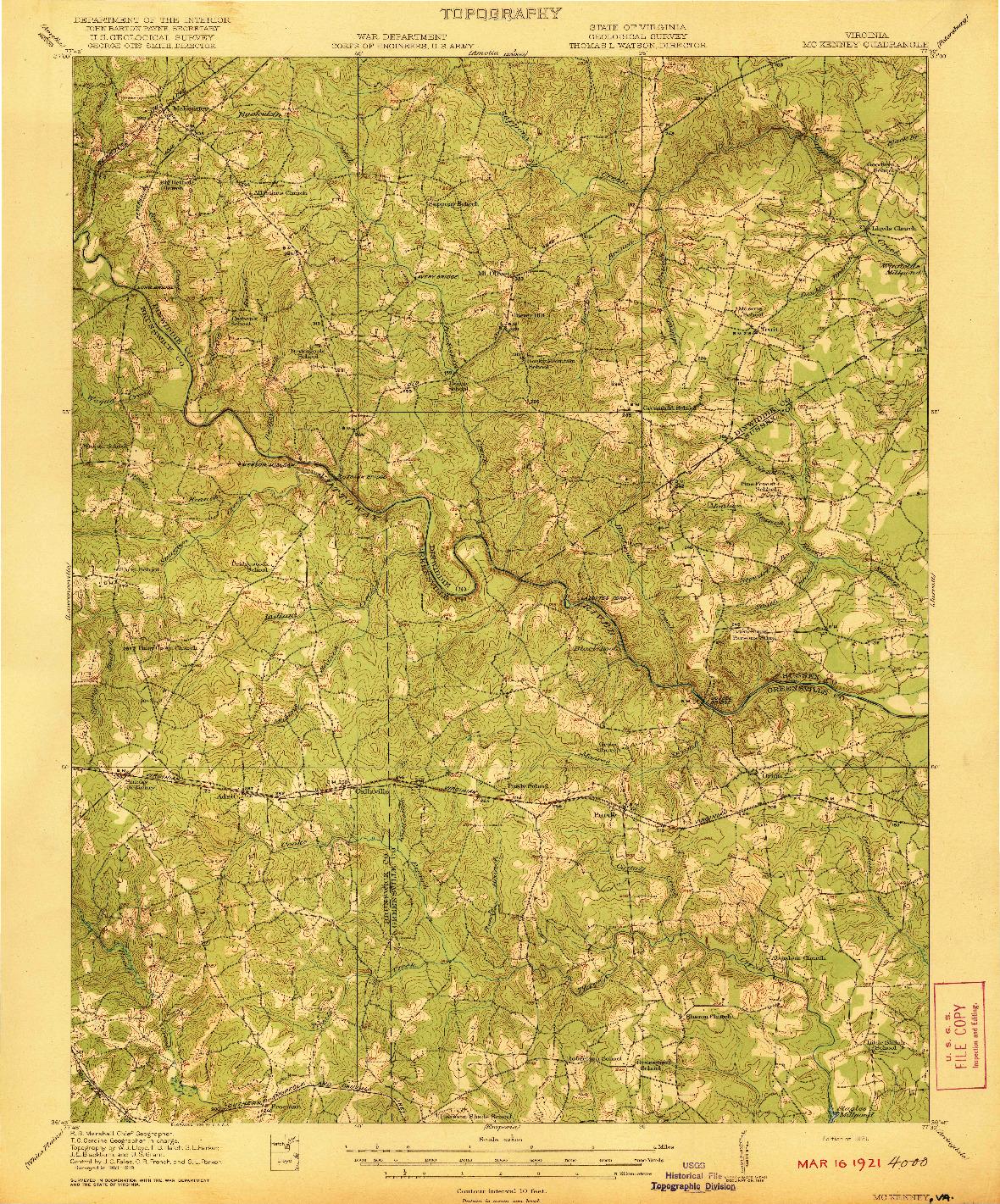 USGS 1:62500-SCALE QUADRANGLE FOR MC KENNEY, VA 1921