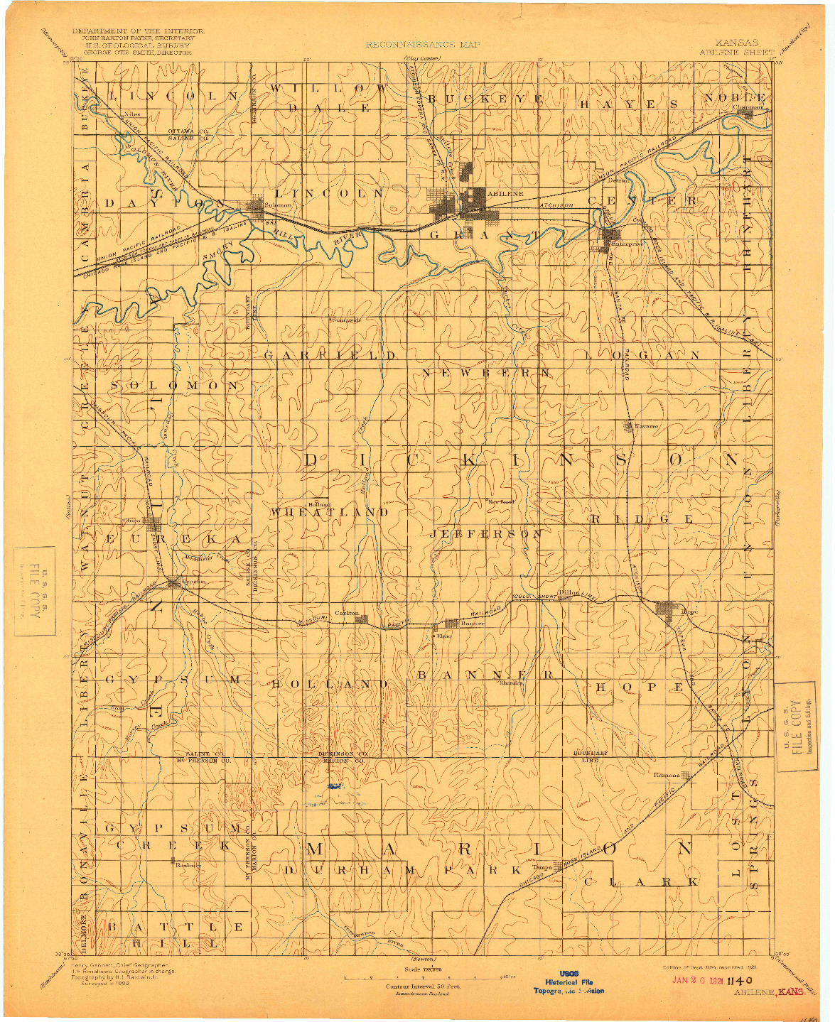 USGS 1:125000-SCALE QUADRANGLE FOR ABILENE, KS 1894