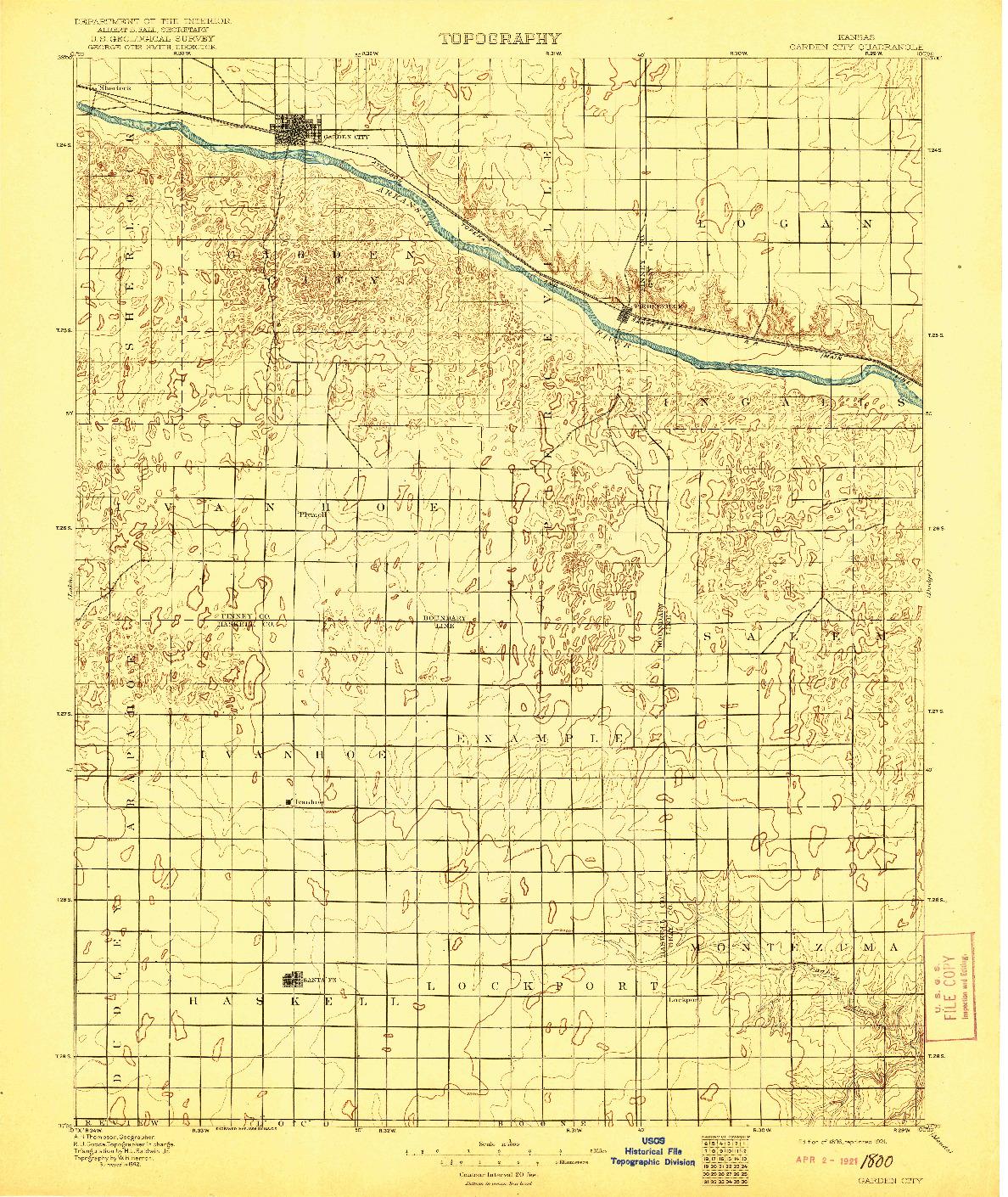 USGS 1:125000-SCALE QUADRANGLE FOR GARDEN CITY, KS 1896