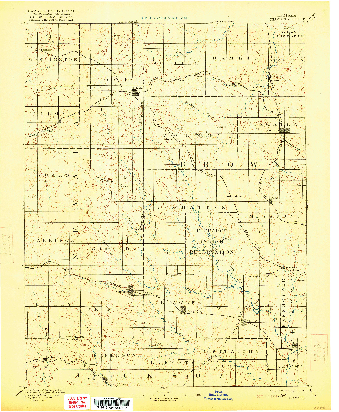 USGS 1:125000-SCALE QUADRANGLE FOR HIAWATHA, KS 1894