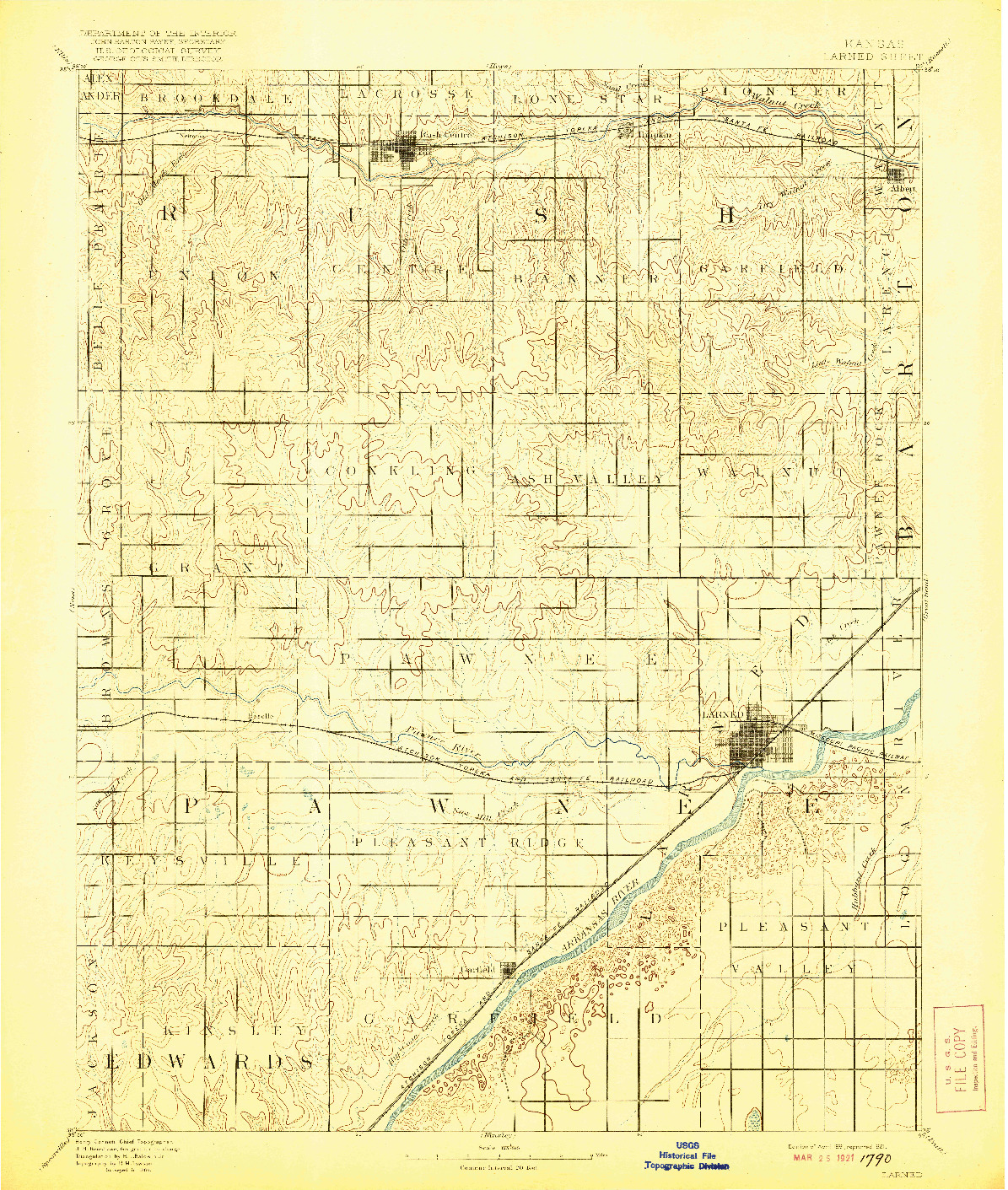 USGS 1:125000-SCALE QUADRANGLE FOR LARNED, KS 1891