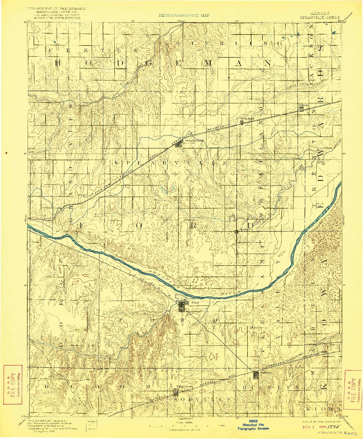 USGS 1:125000-SCALE QUADRANGLE FOR SPEARVILLE, KS 1894