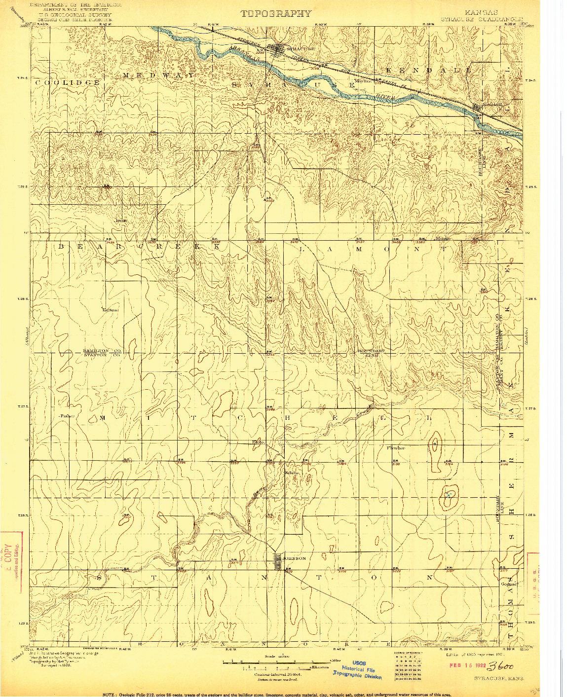 USGS 1:125000-SCALE QUADRANGLE FOR SYRACUSE, KS 1900