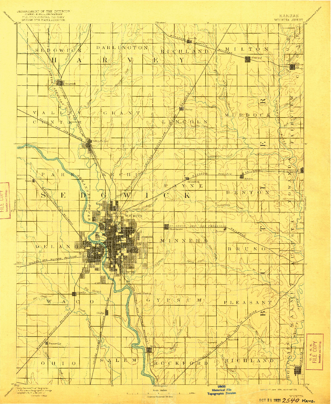 USGS 1:125000-SCALE QUADRANGLE FOR WICHITA, KS 1894