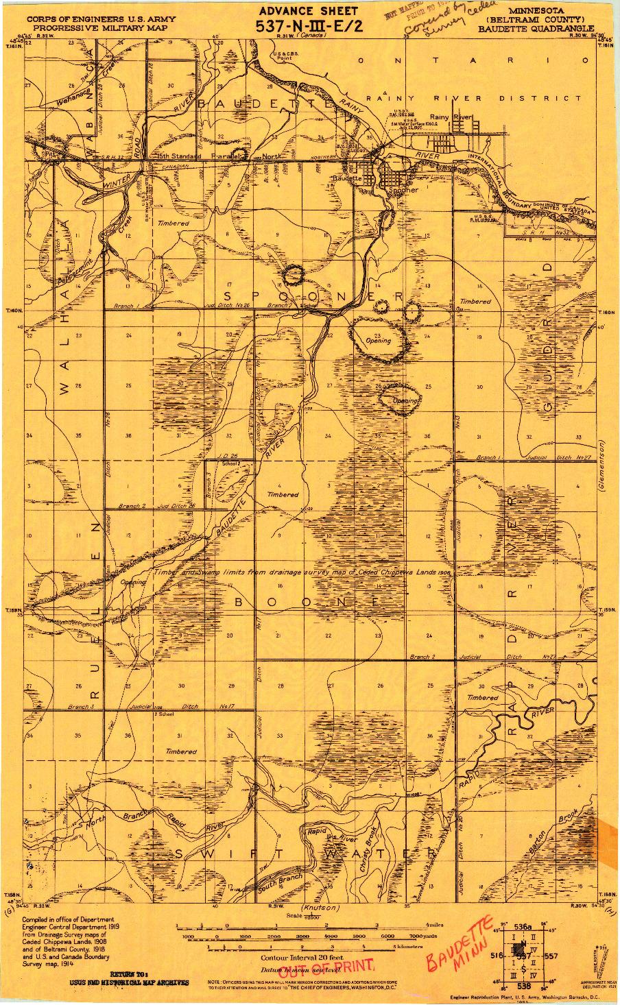 USGS 1:62500-SCALE QUADRANGLE FOR BAUDETTE, MN 1921