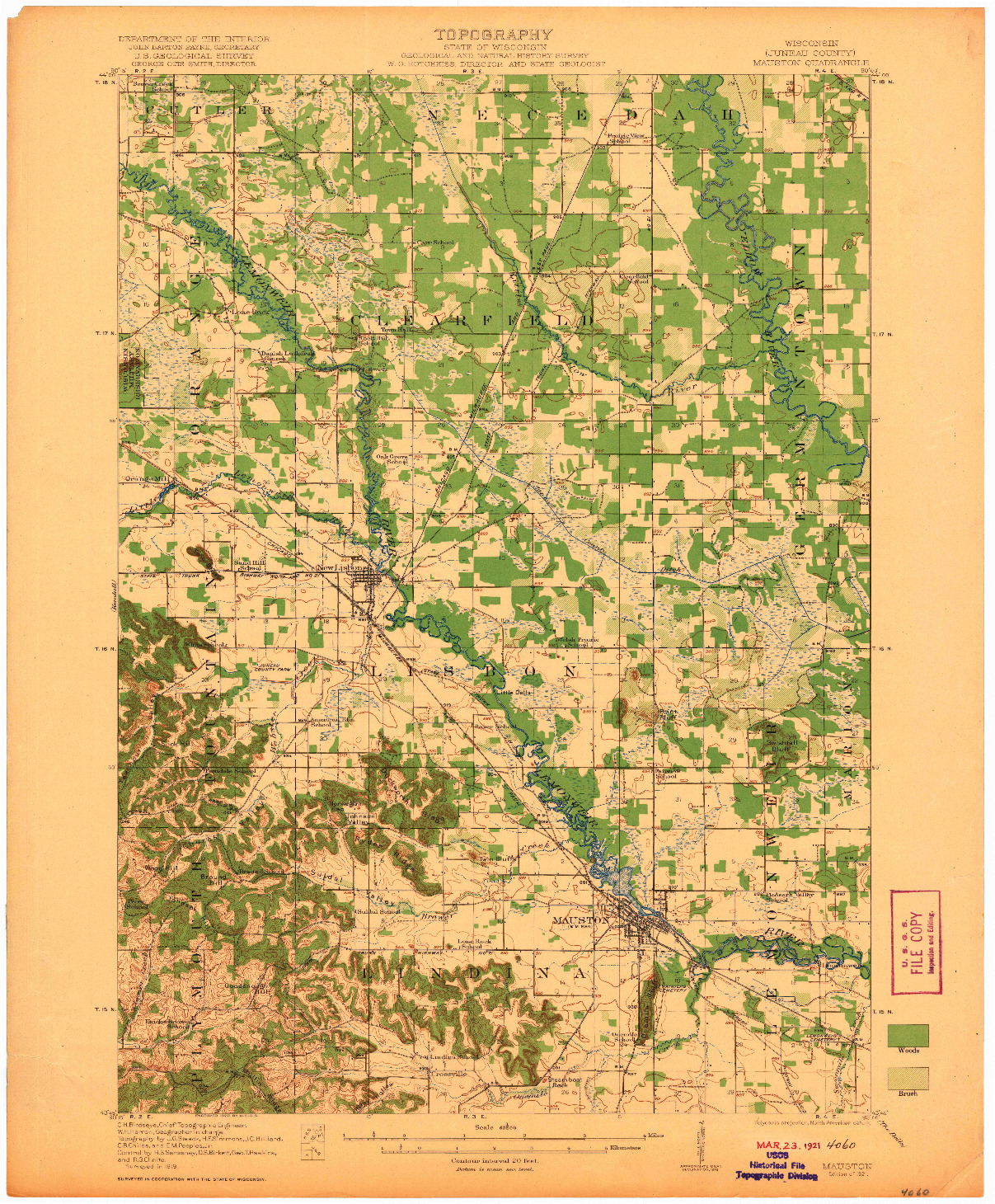 USGS 1:62500-SCALE QUADRANGLE FOR MAUSTON, WI 1921