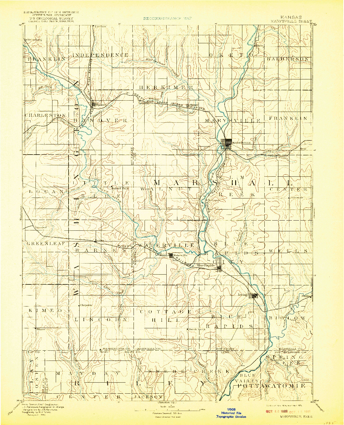 USGS 1:125000-SCALE QUADRANGLE FOR MARYSVILLE, KS 1894