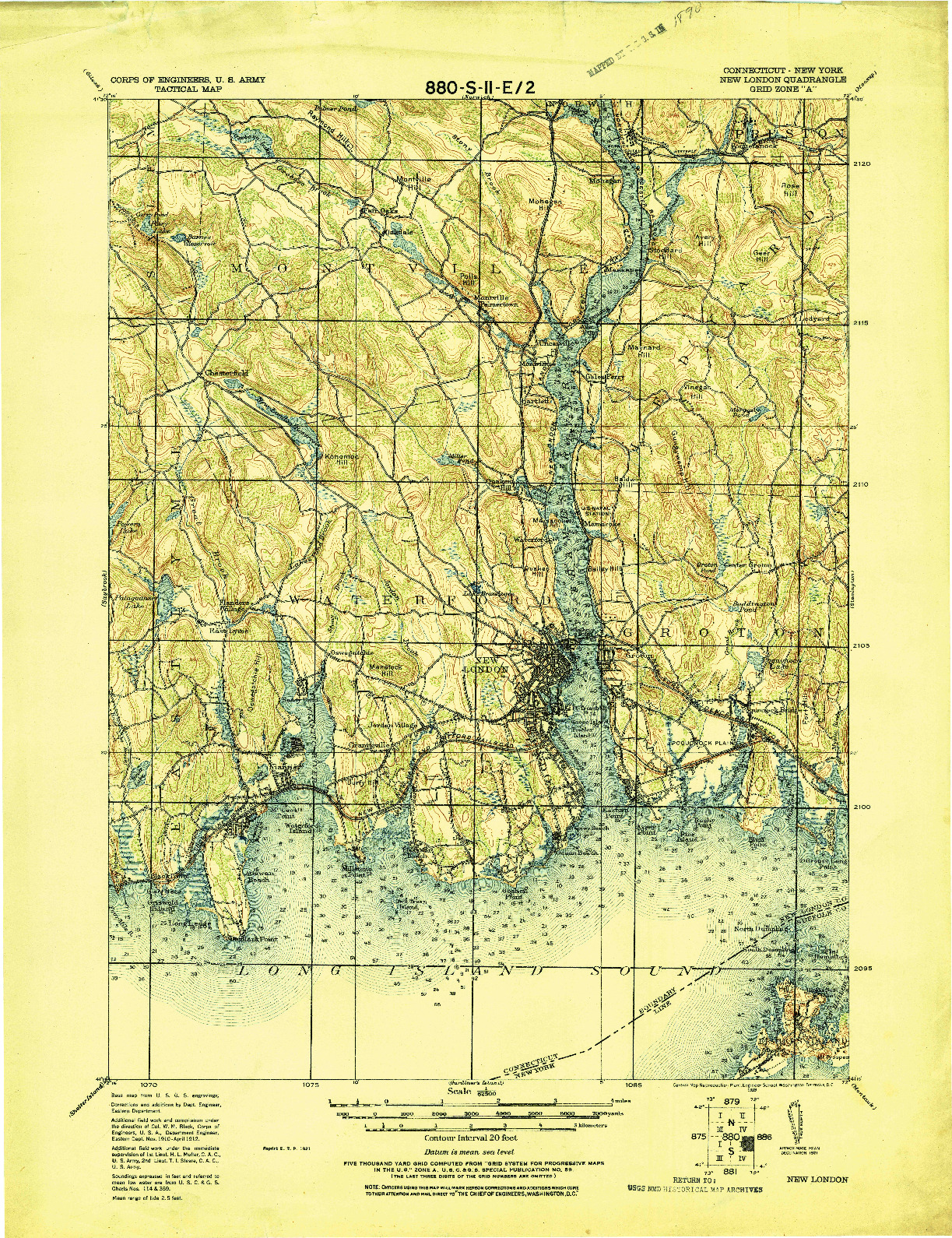 USGS 1:62500-SCALE QUADRANGLE FOR NEW LONDON, CT 1921